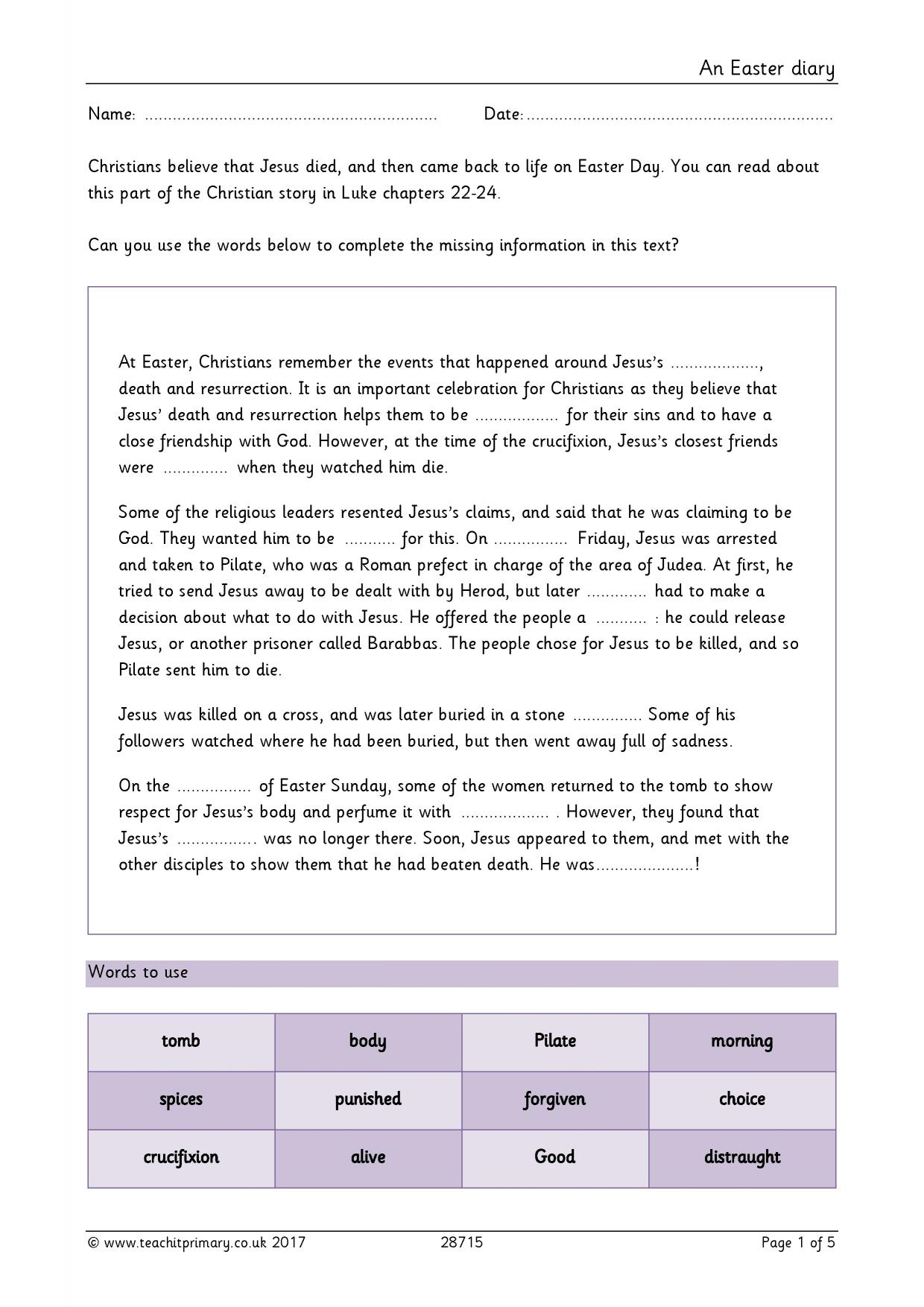 Easy ks1 writing worksheets for Diary writing template ks1