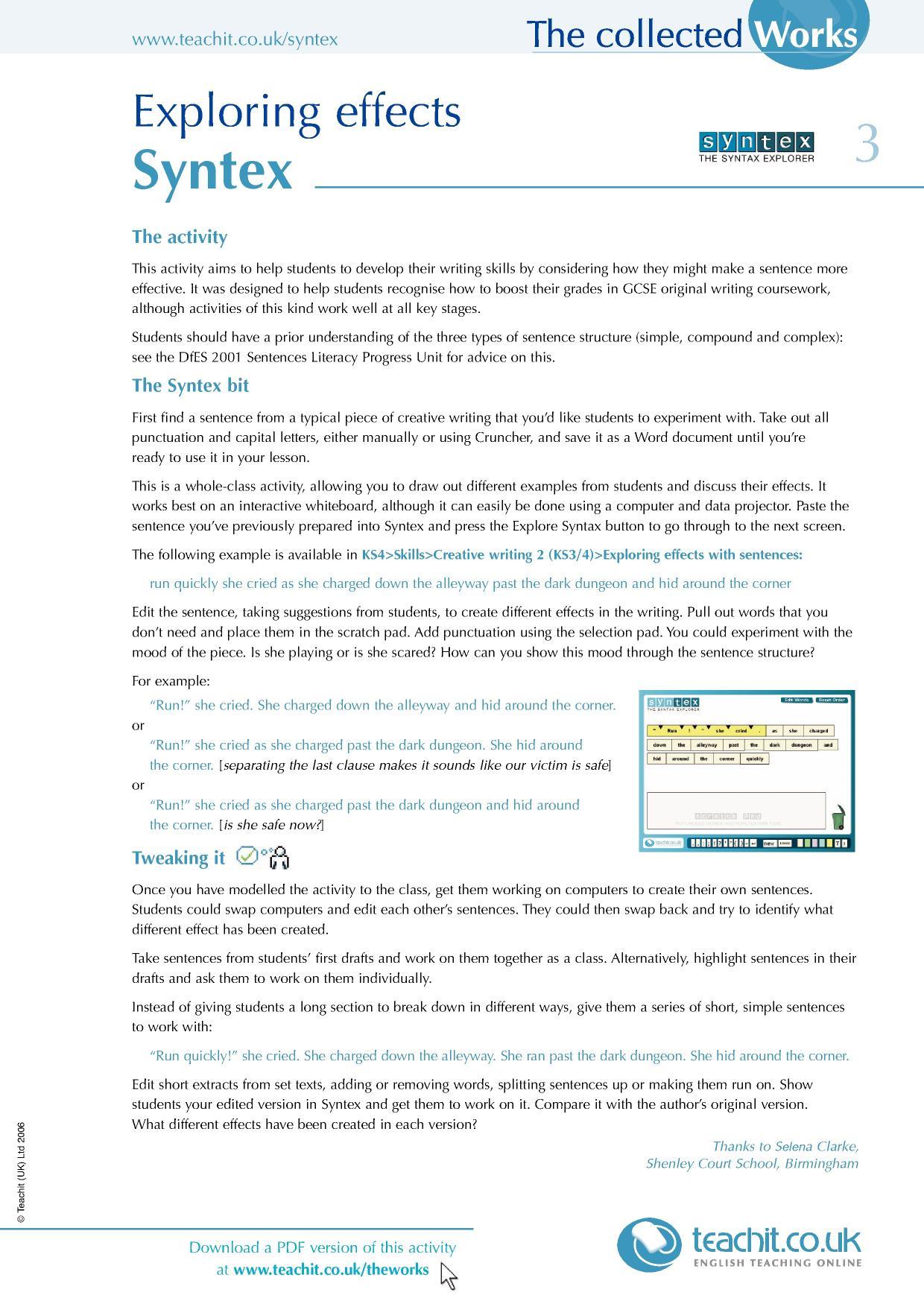 Ks4 grammar and vocabulary sentence construction teachit english 4 preview ibookread PDF