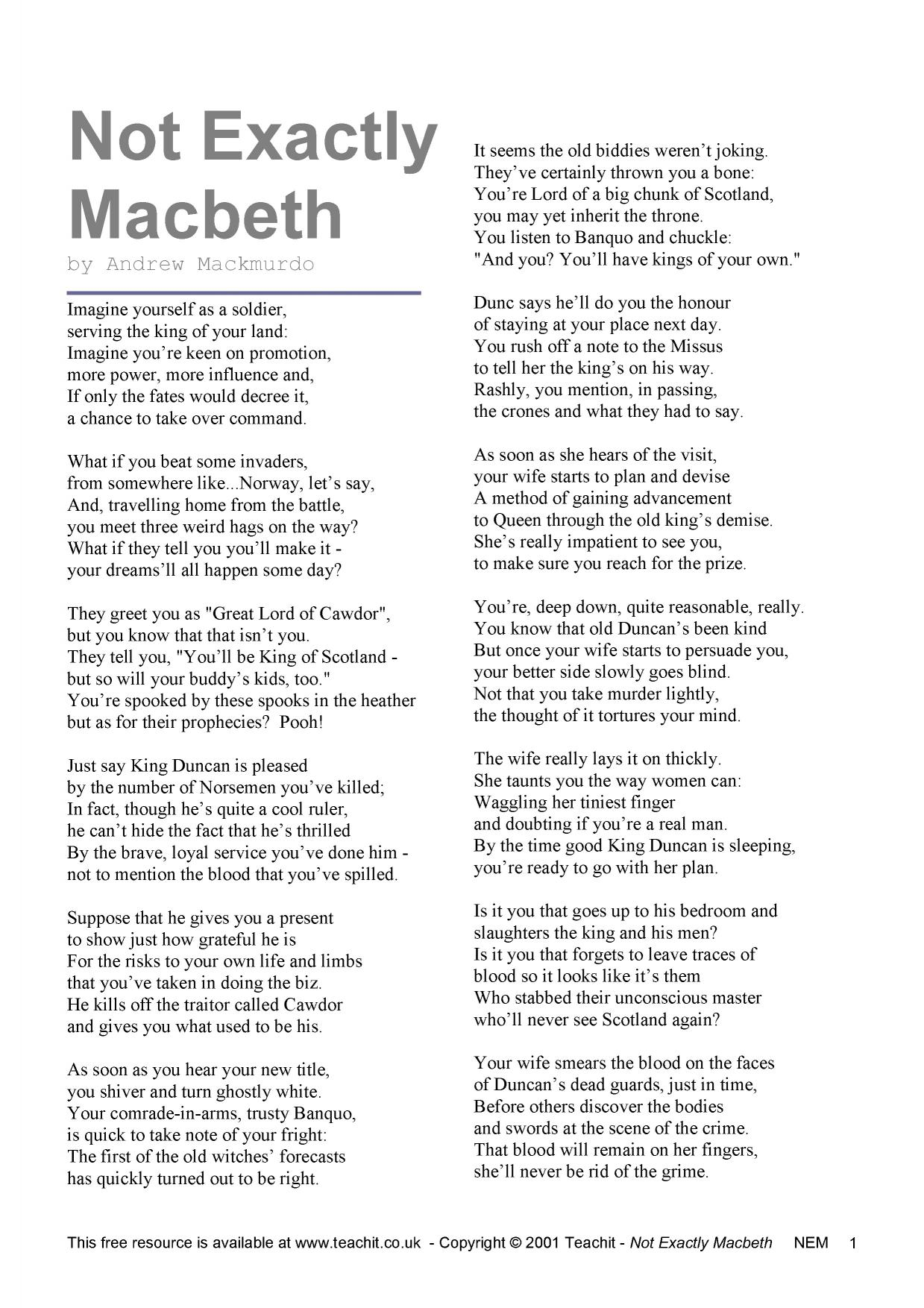 Minor Characters, Plot, and Imagery in Macbeth Essay Sample