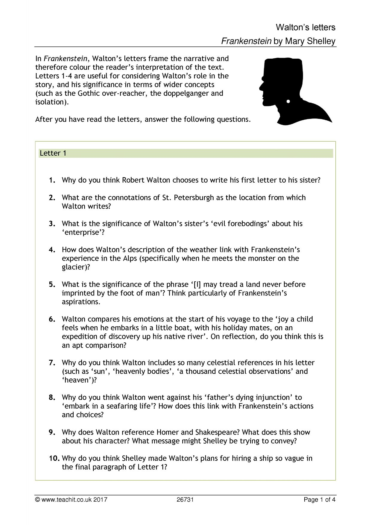 KS4 Frankenstein by Mary Shelley – Frankenstein Worksheets