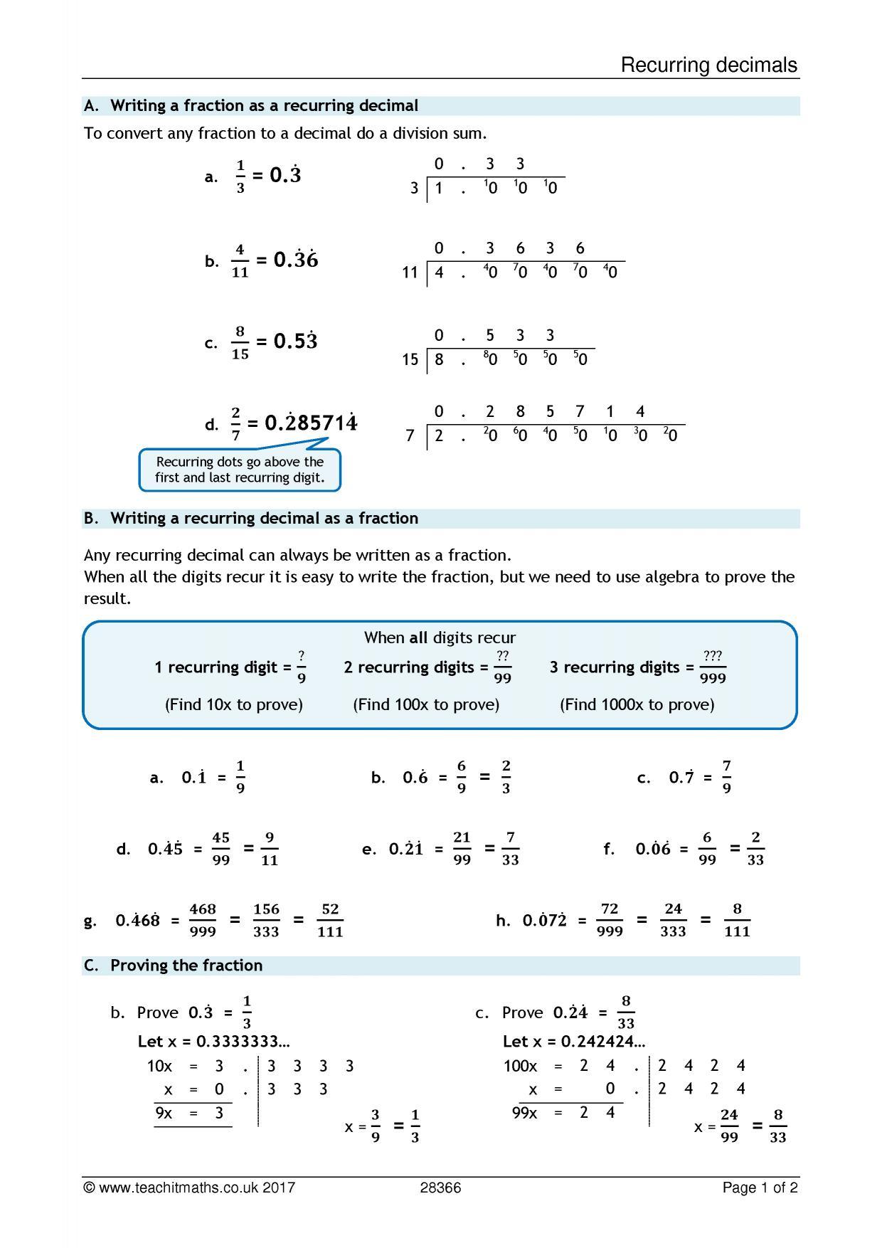Ks3 Decimals Teachit Maths [ 1754 x 1240 Pixel ]