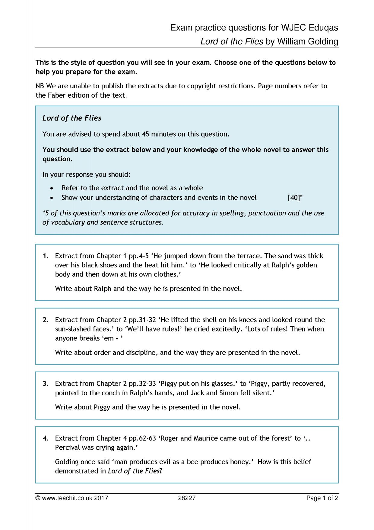 Exam practice questions for WJEC Eduqas - Lord of the ...