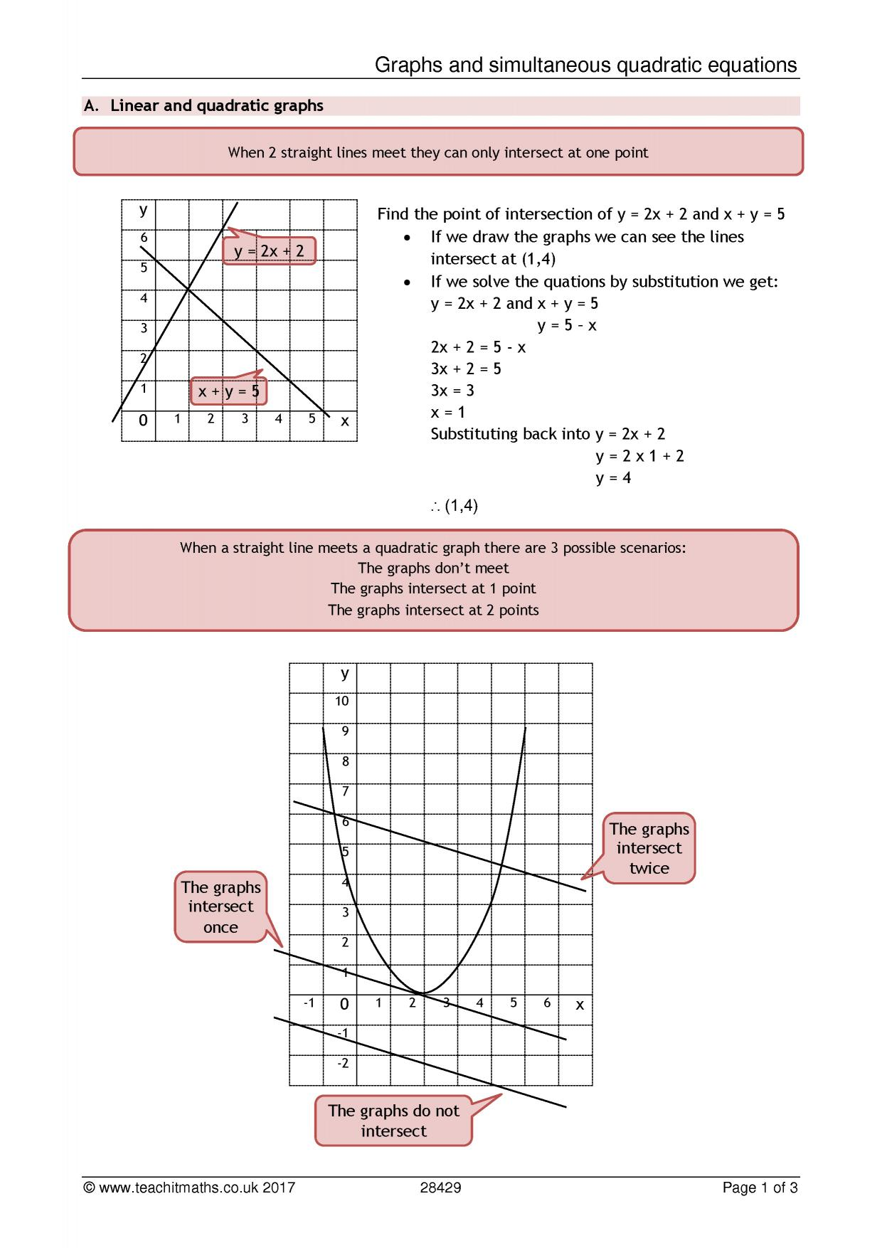 Simultaneous equations linear and quadratic ppt to pdf
