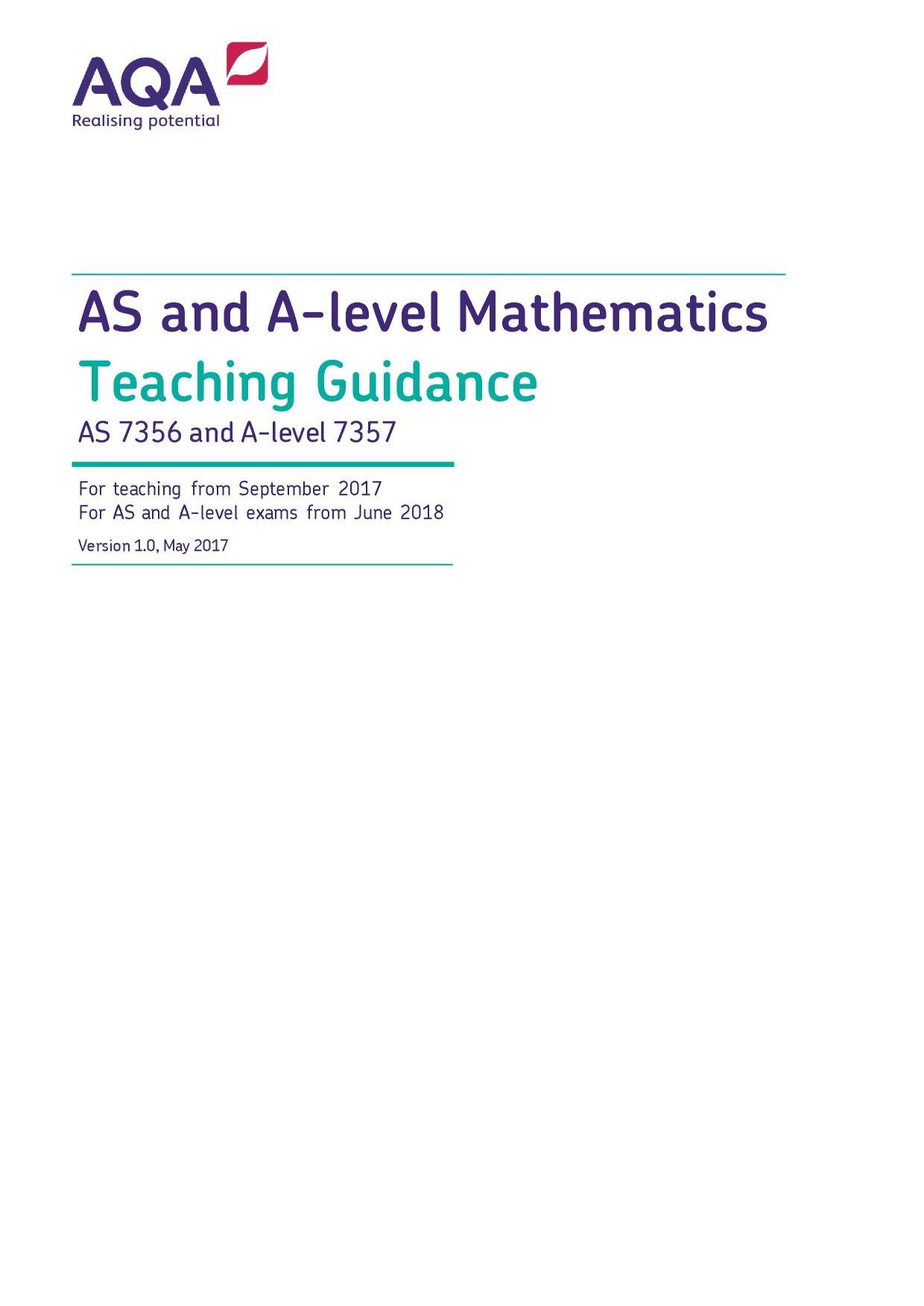 AQA AS and A-Level mathematics teaching guidance