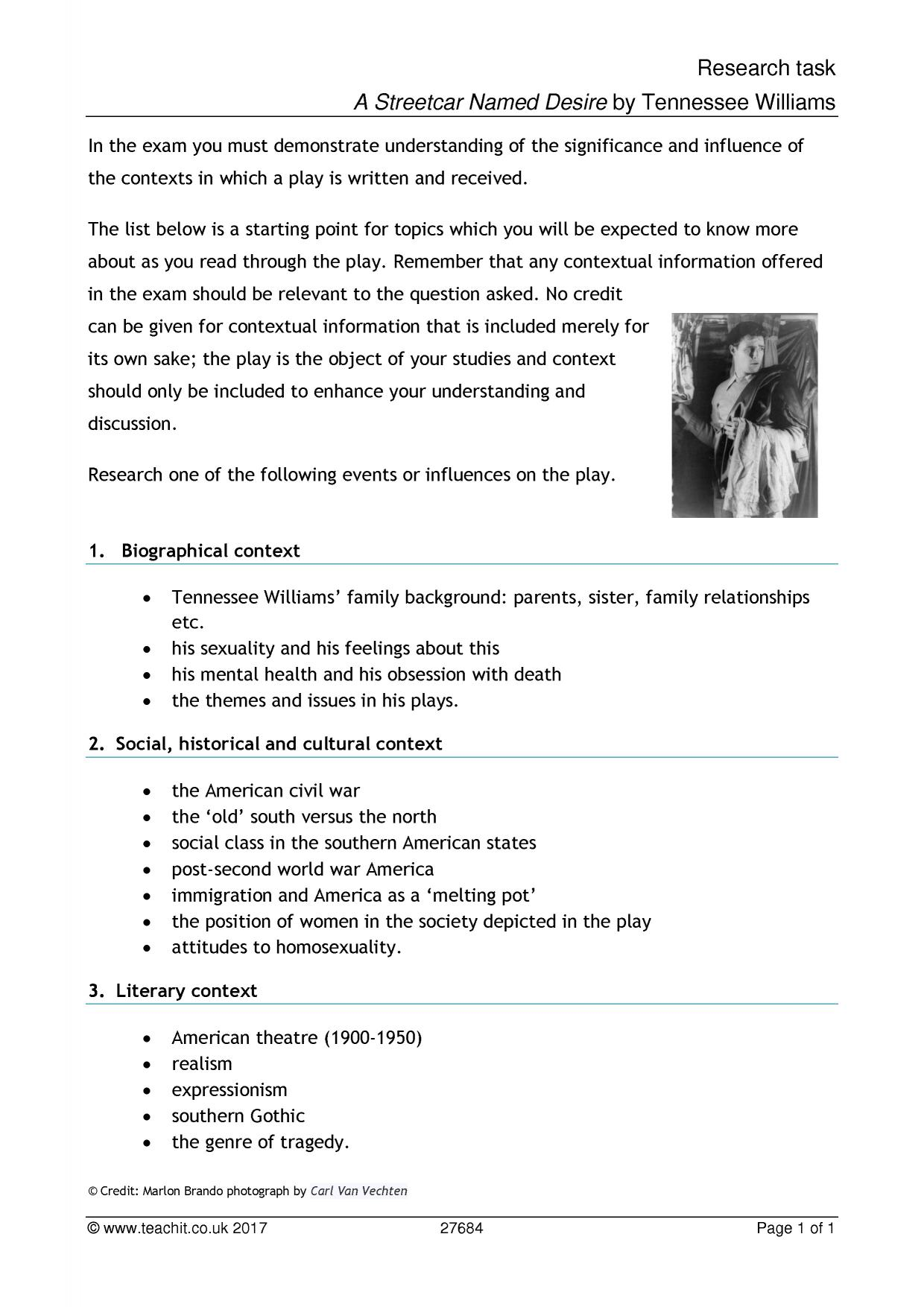 """streetcar named desire dramatic tension essay In what ways and to what extent does williams' use of language and dramatic """"take a streetcar named desire a-streetcar-named-desire/study-guide/essay."""