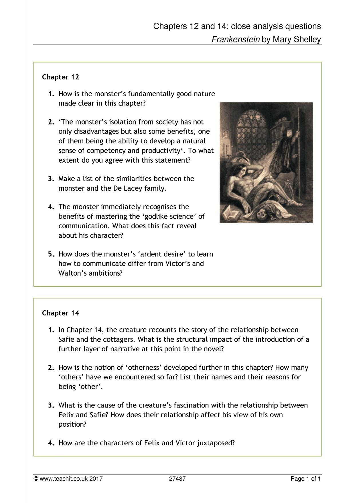 frankenstein close reading Close reading essay of frankenstein frankenstein the deaths of his loved ones leave him with a sense of loss, guilt and despair because he knows he is indirectly responsible for their deaths.