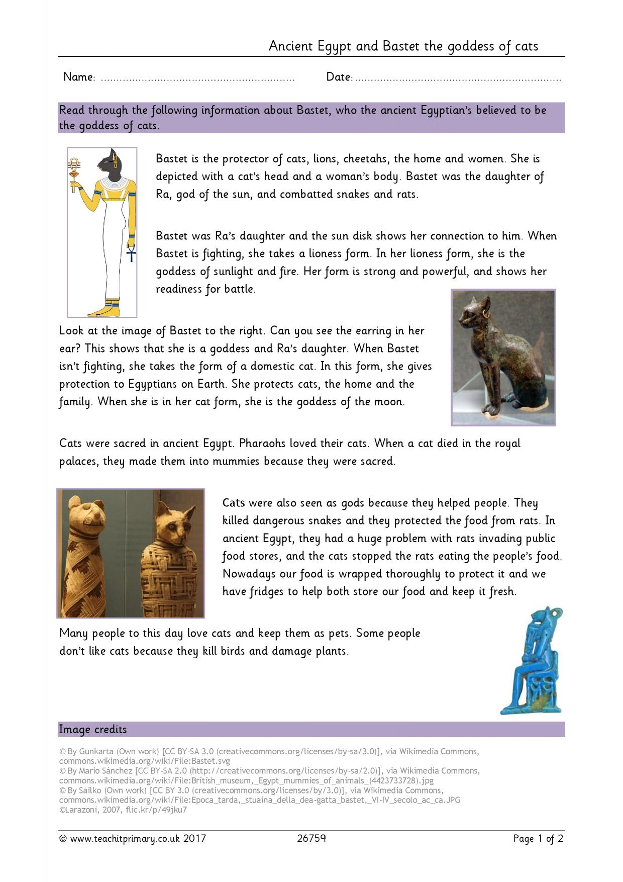 Ancient Egyptians and Bastet the goddess of cats