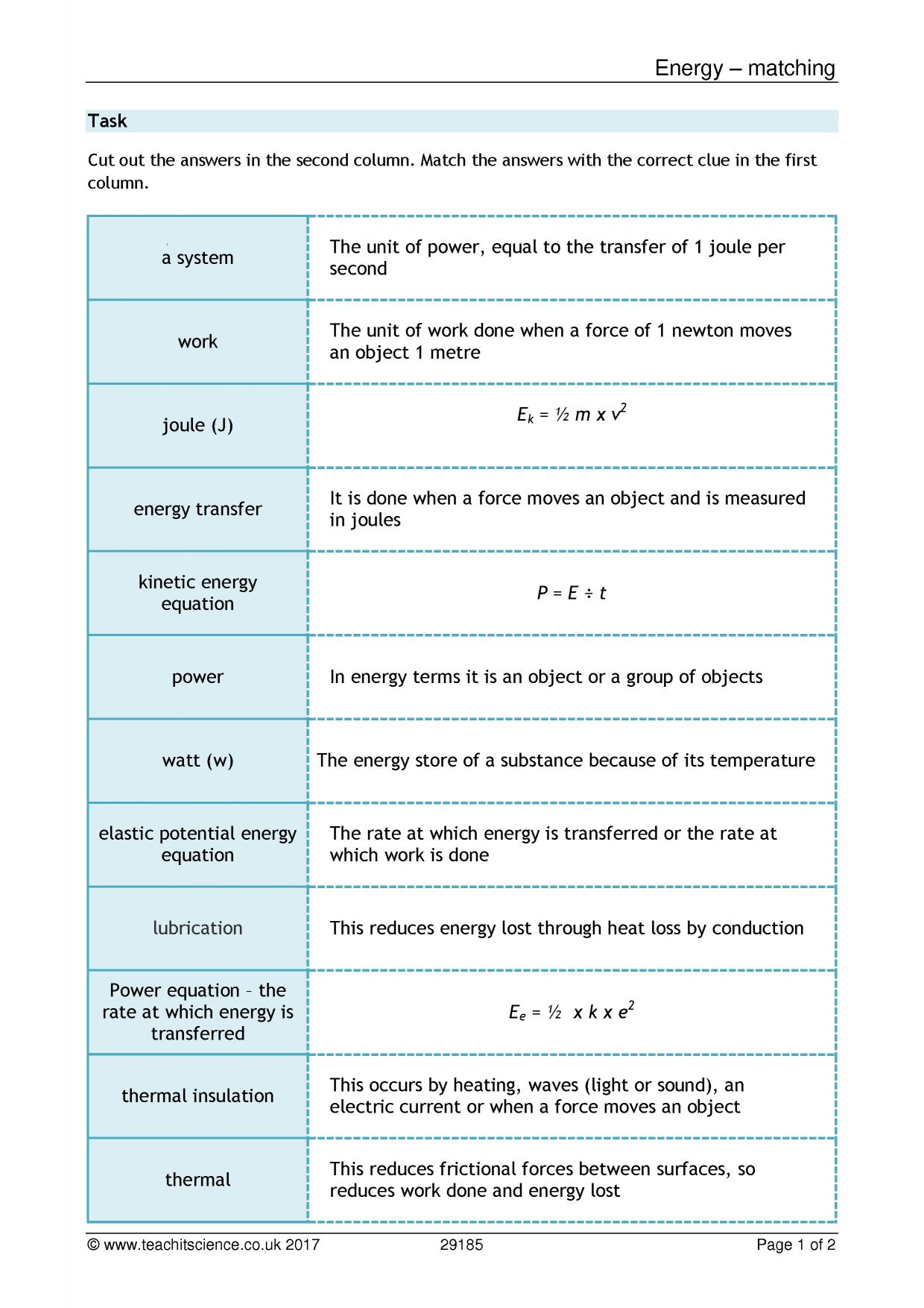 worksheet Energy Model Worksheet 4 Energy Transfer And Power Answers energy resources search results teachit science 0 preview