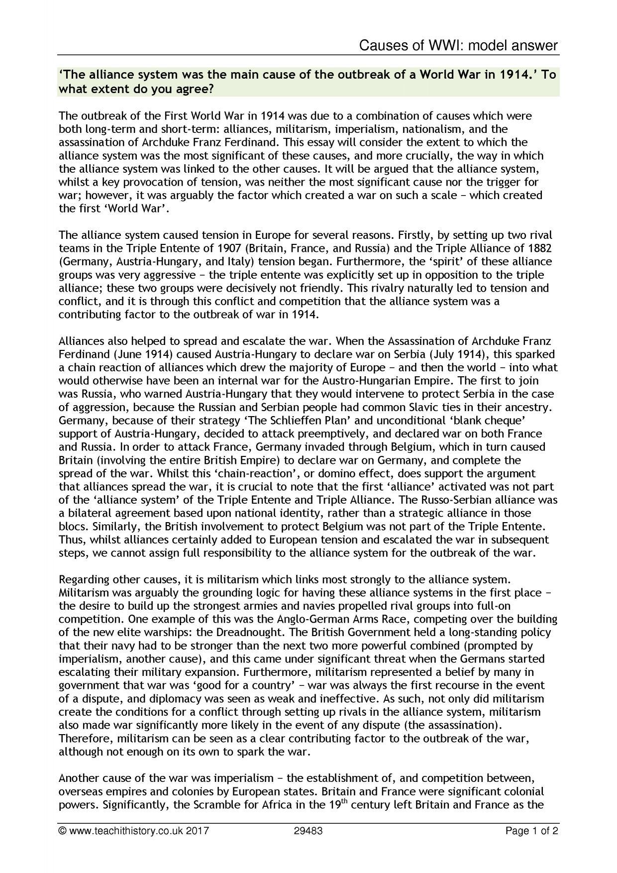 Essay on ww1 causes essay on reservation