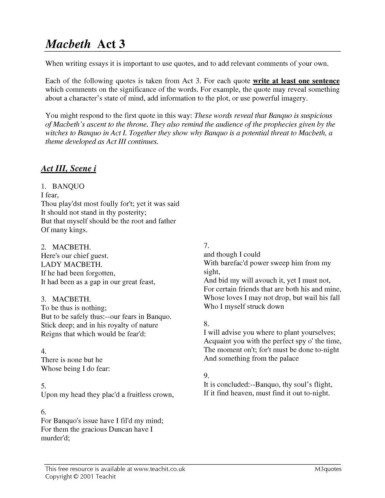 10 page essay on macbeth act 3 scenes 1 4