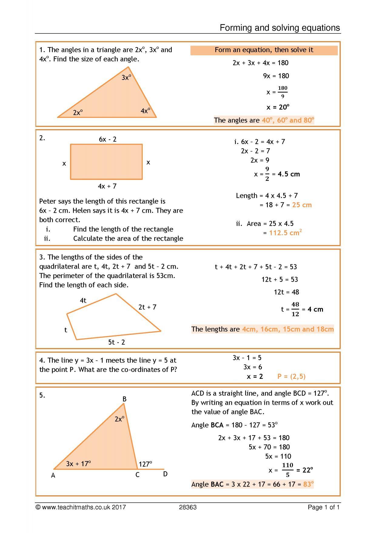 KS23 Algebra  Linear equations  Teachit Maths Pertaining To Solving Linear Equations Worksheet Pdf
