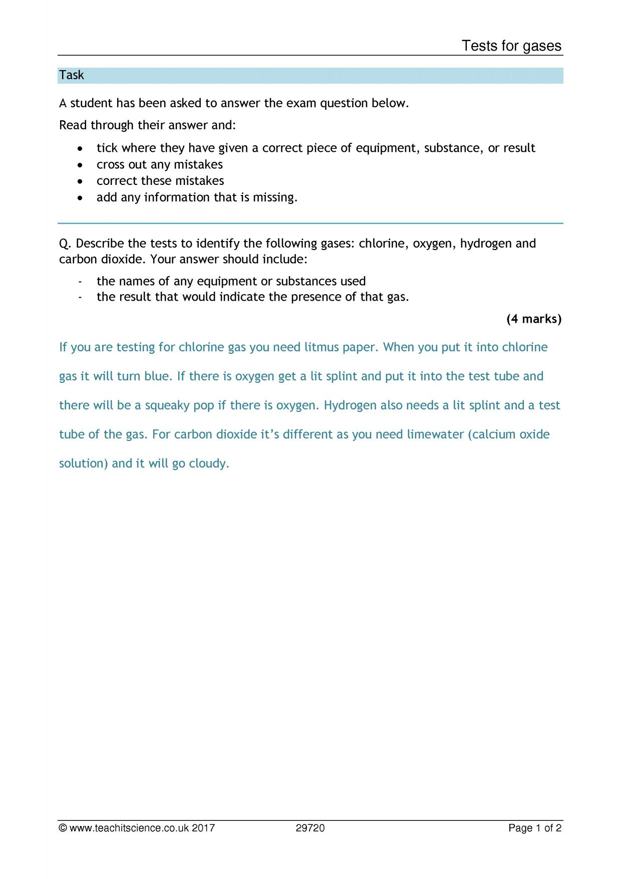 KS3 Chemical reactions and energetics KS3 – Identifying Chemical Reactions Worksheet