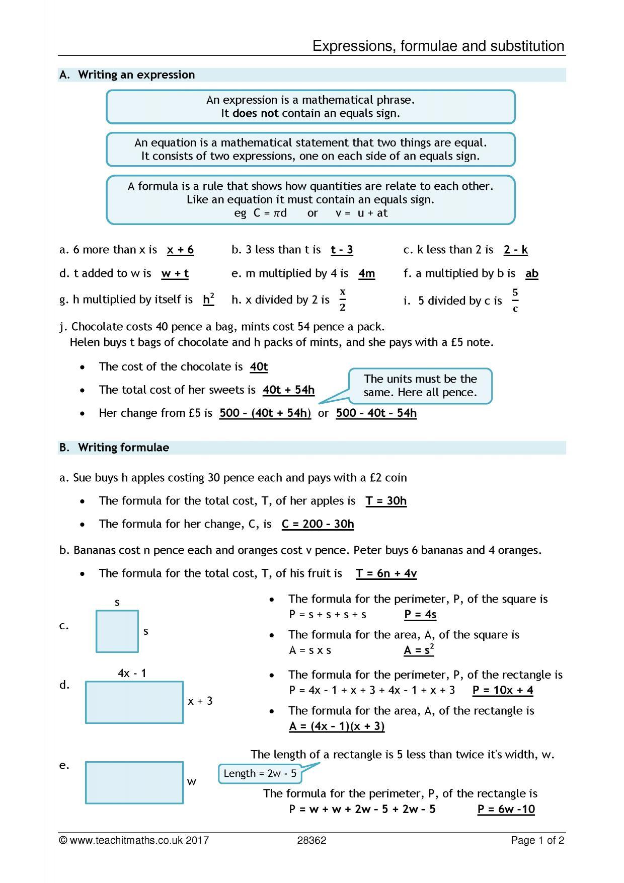 Ks3 Formulae And Substitution Teachit Maths