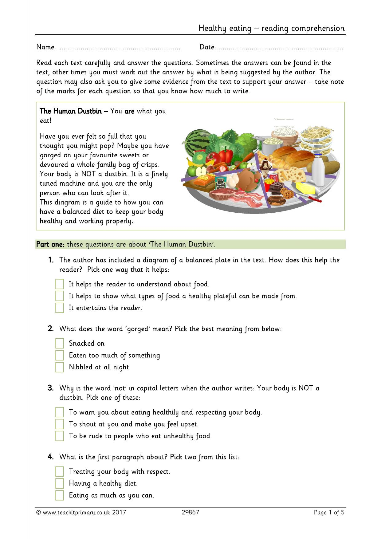 Healthy Eating Reading Prehension Food