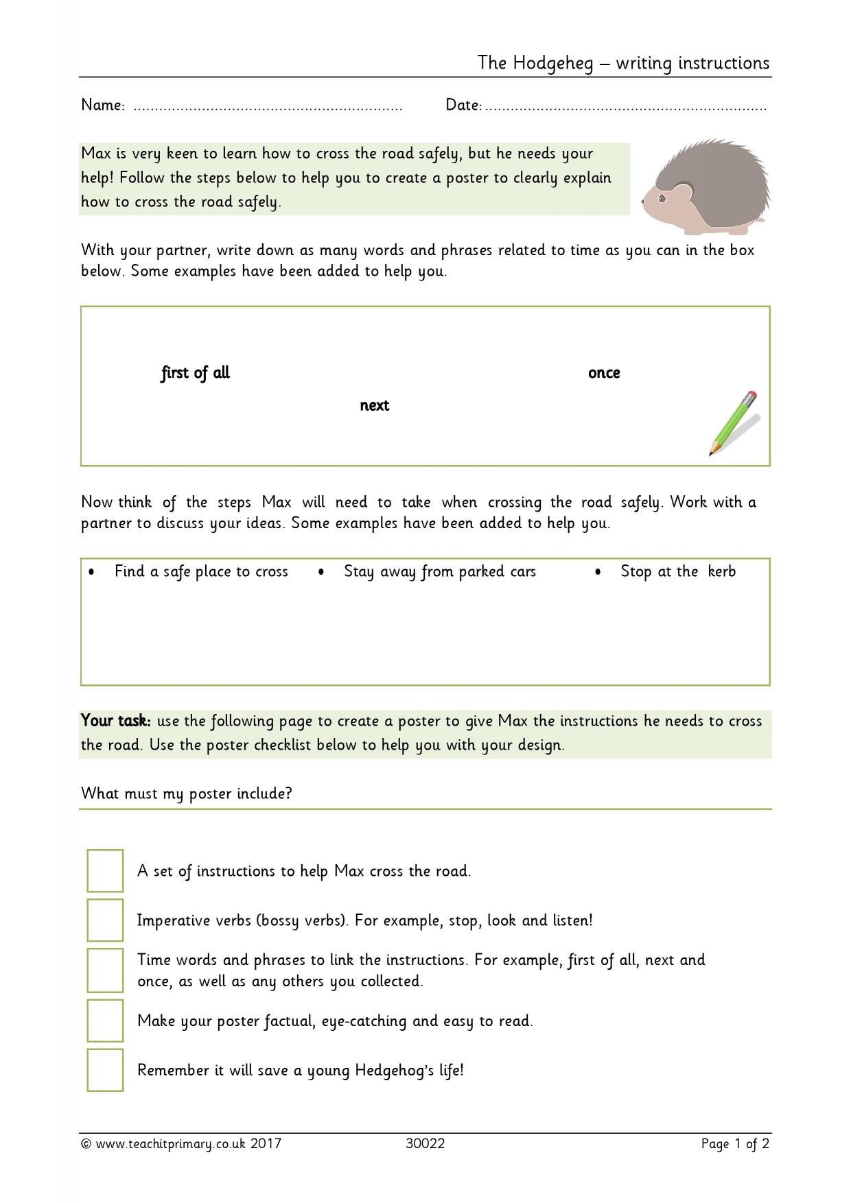 how to write a set of instructions ks2. Black Bedroom Furniture Sets. Home Design Ideas