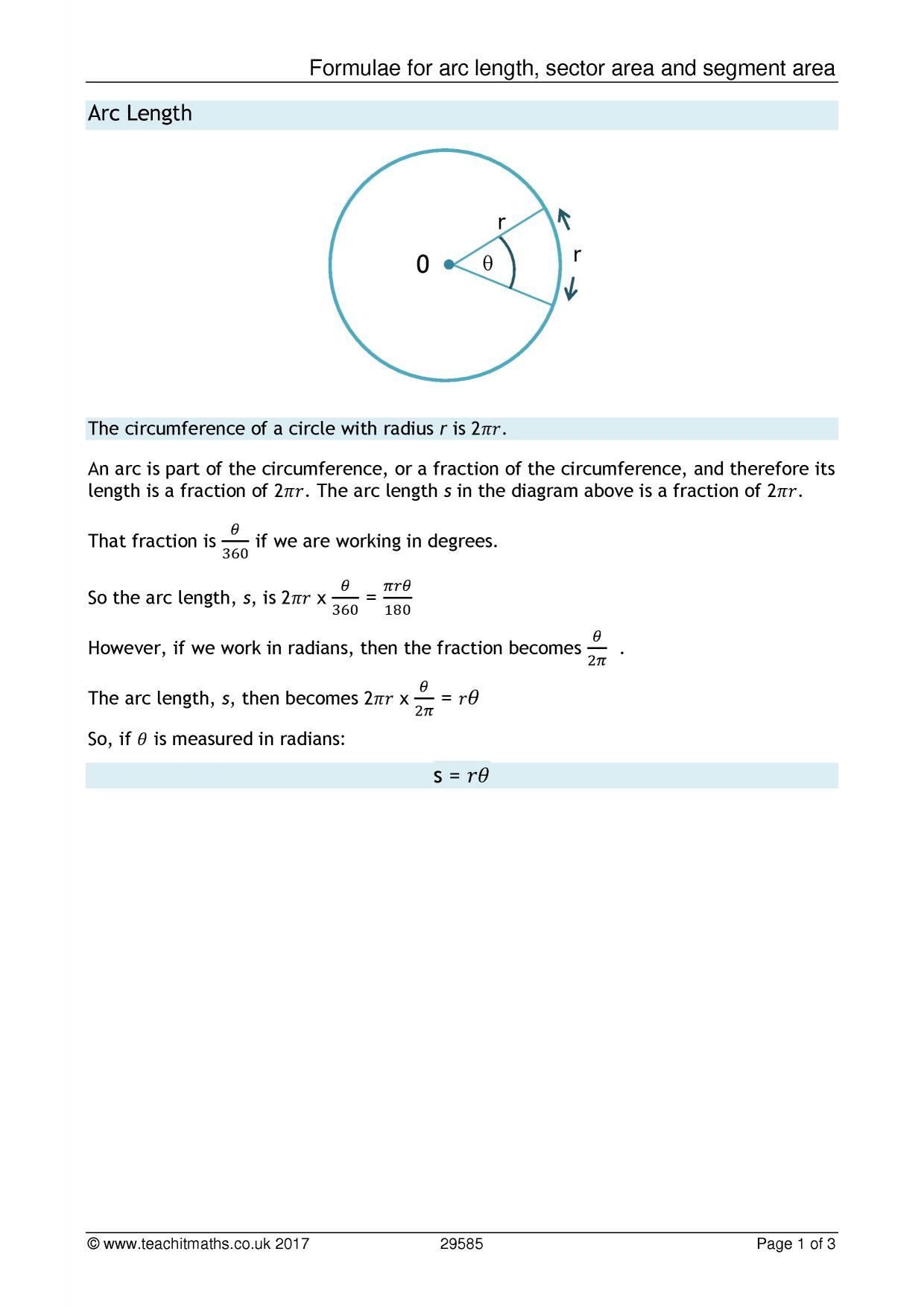 worksheet Arc Length And Sector Area Worksheet Answers circles teachit maths 0 preview