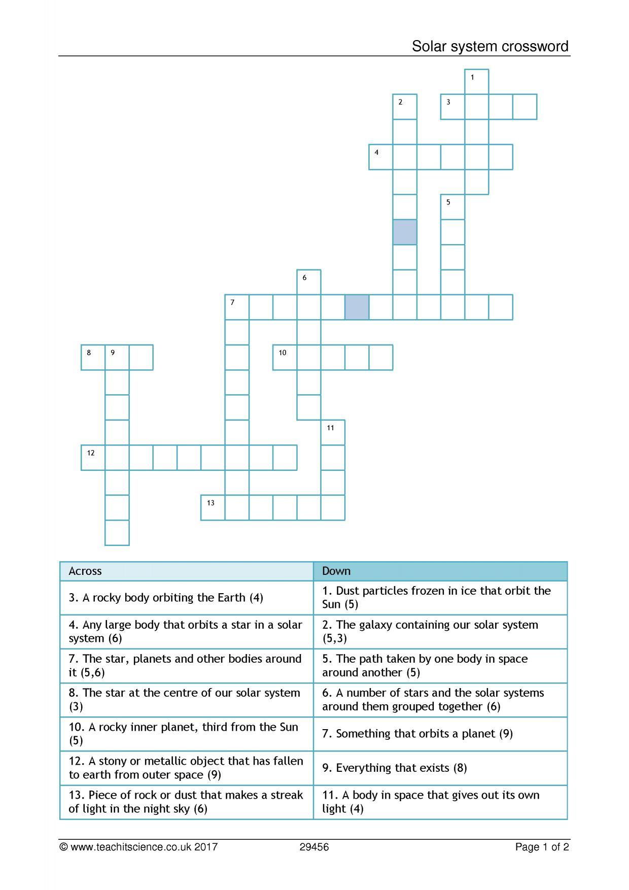 Solar System Crossword