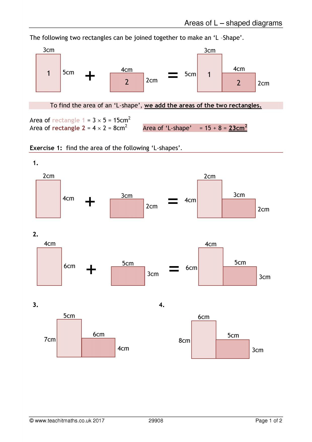 Compound shapes worksheet area and perimeter