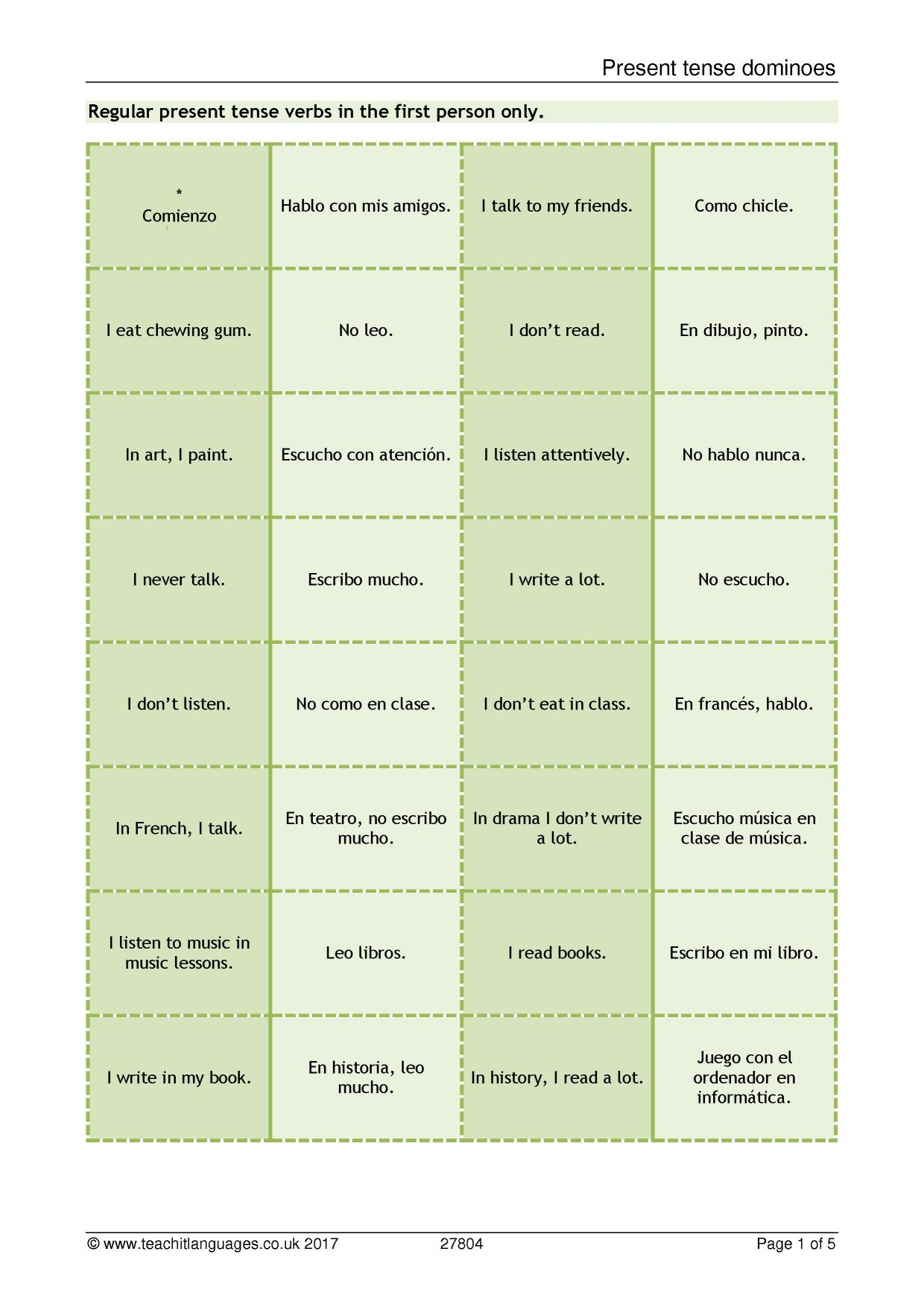 Latest Spanish teaching resources printable worksheets and – High School Spanish Worksheets