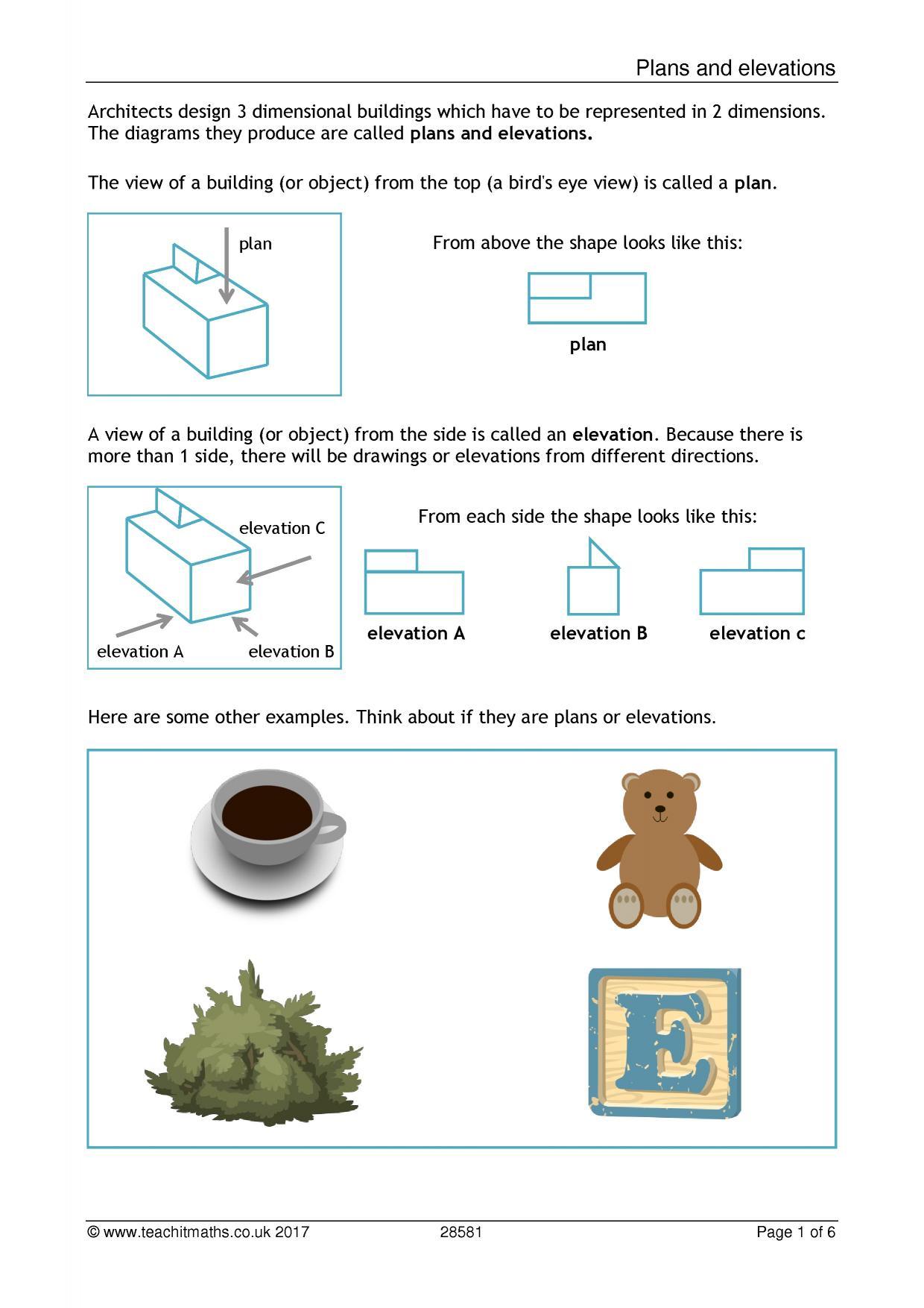 Plan Elevation Maths Worksheet : Ks plans and elevations teachit maths