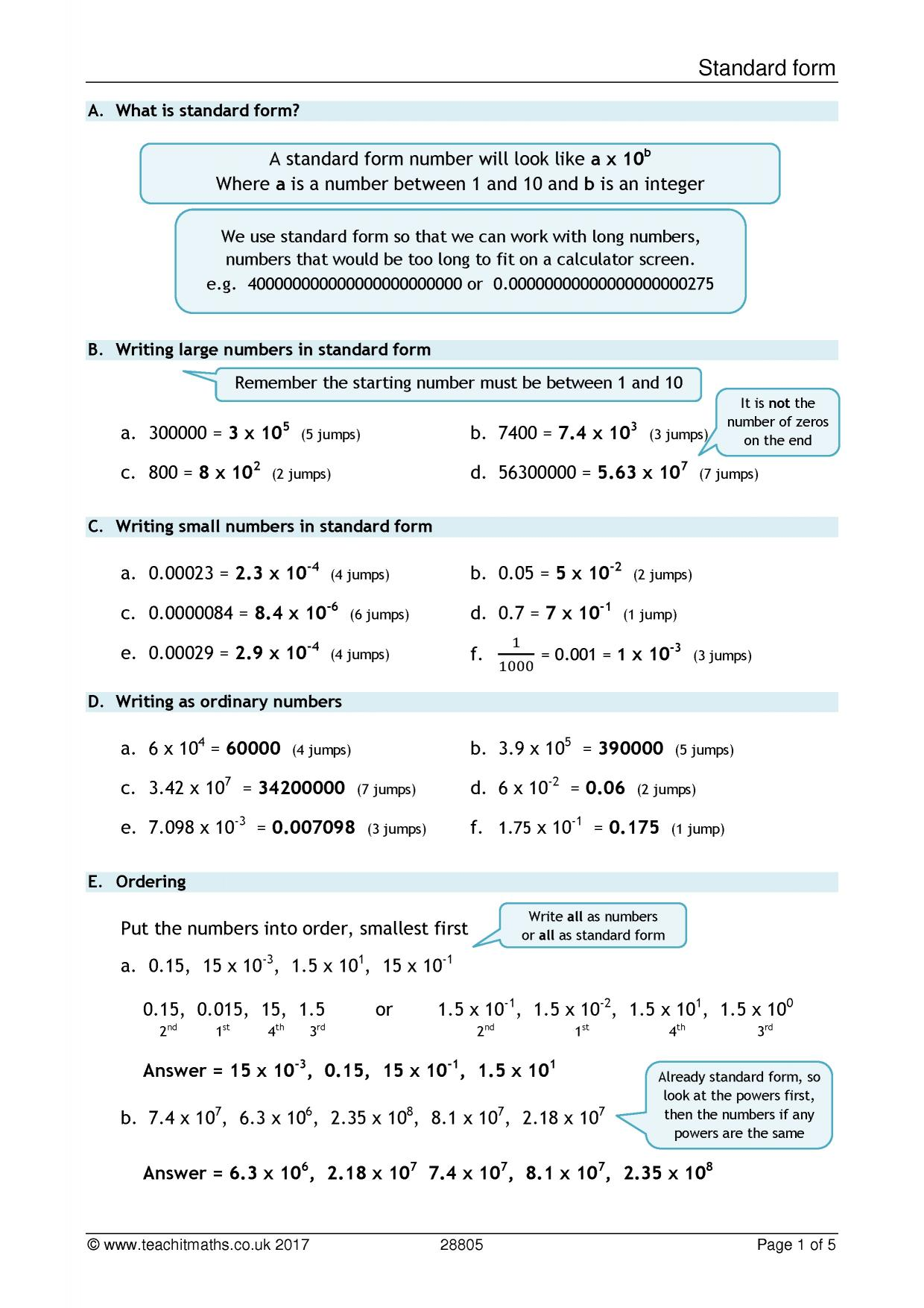 Standard form search results teachit maths 1 preview falaconquin