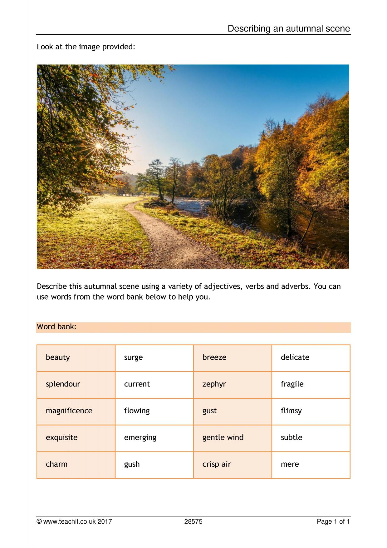 describing an autumnal scene descriptive writing home