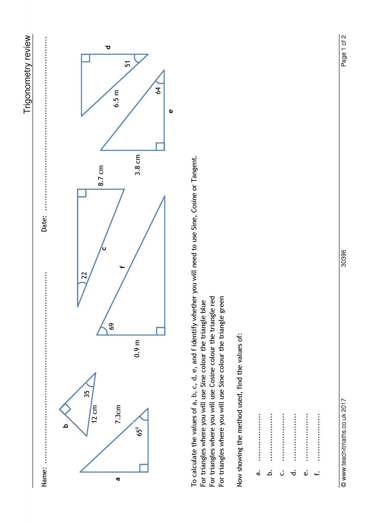 KS4   Trigonometry – SOHCAHTOA   Teachit Maths
