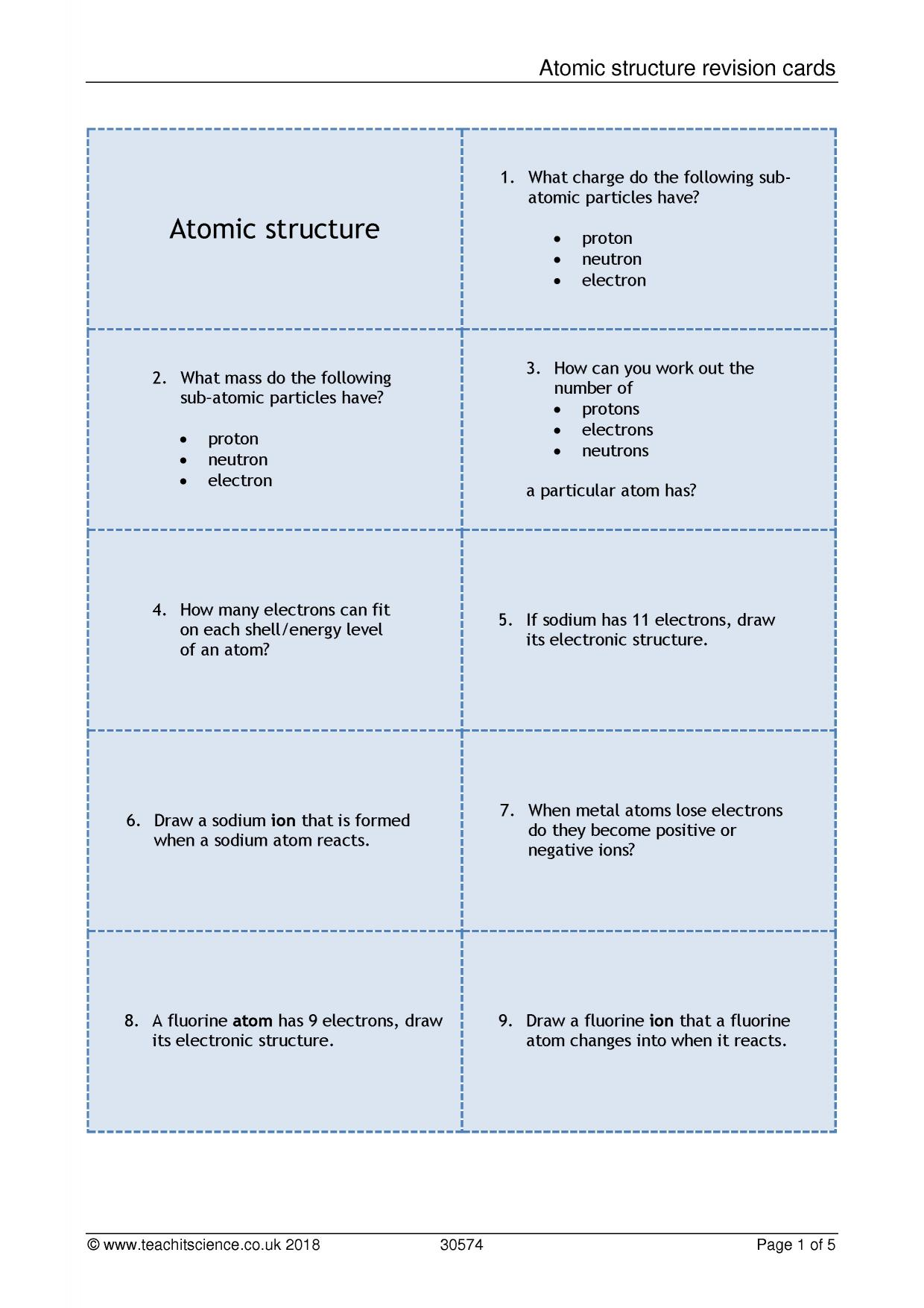 Atomic structure revision cards atomic structure and bonding atomic structure revision cards resource thumbnail publicscrutiny Gallery