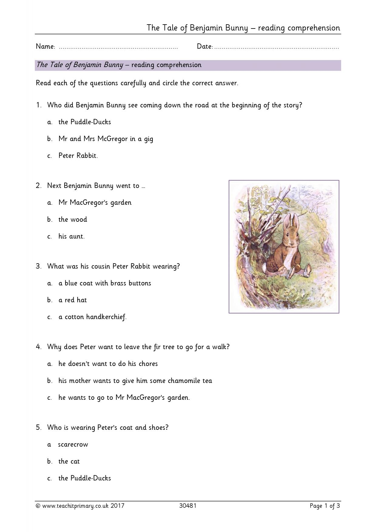 - The Tale Of Benjamin Bunny – Comprehension Questions