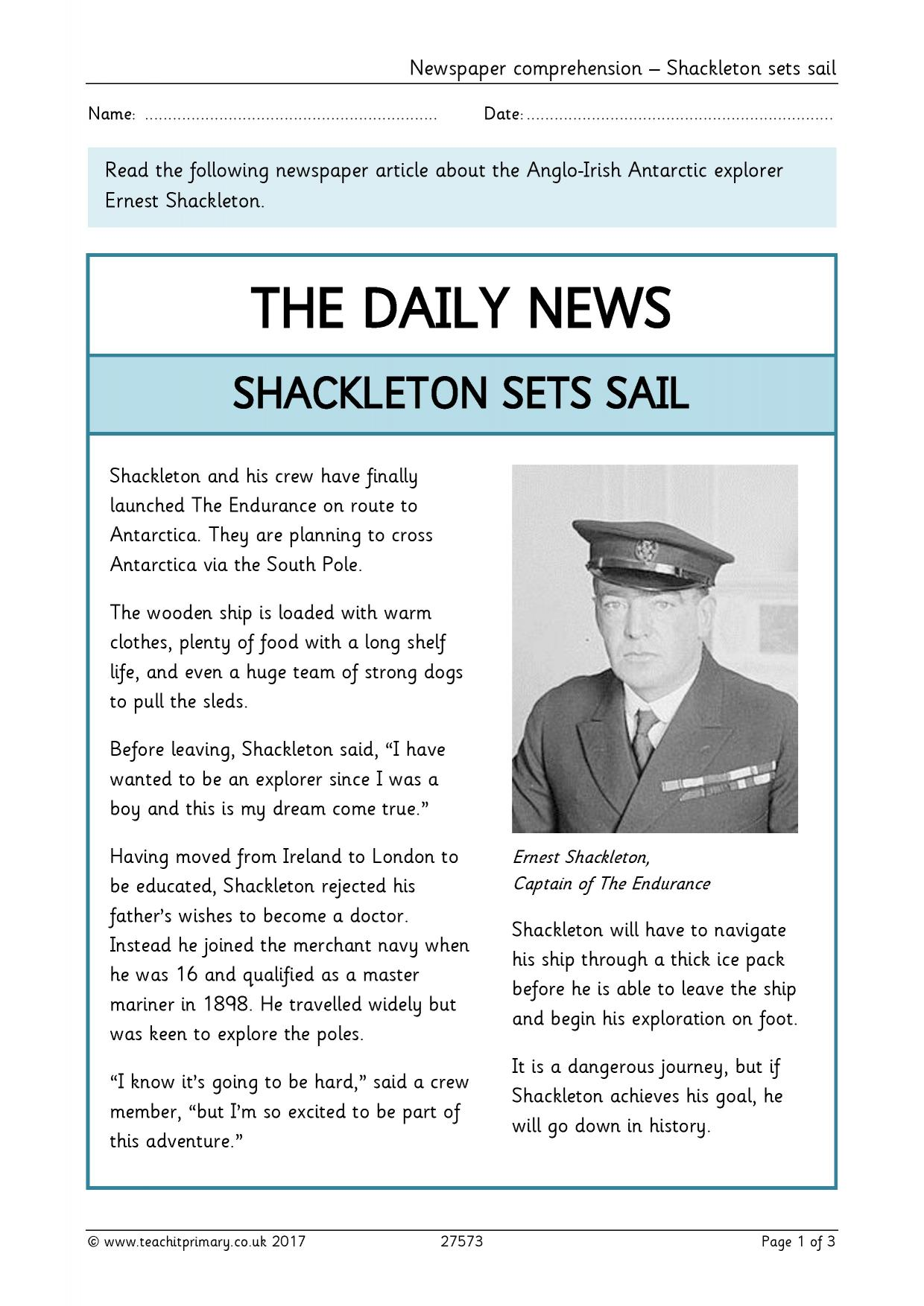 shackleton journal article