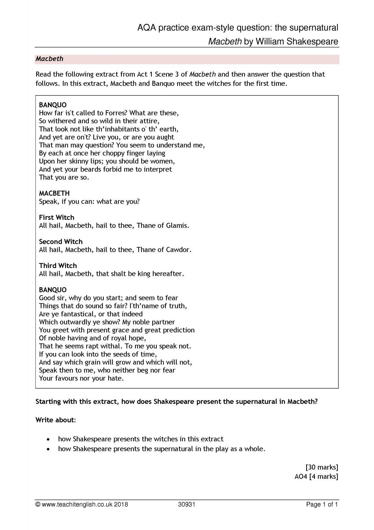 Macbeth essay question