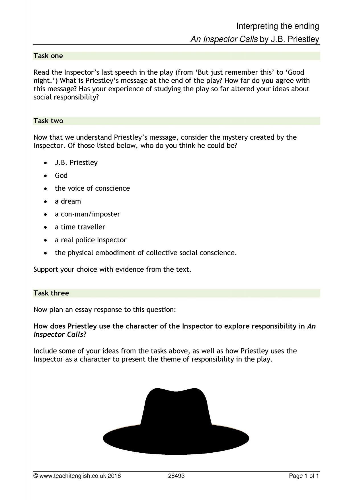 jb priestleys an inspector calls essay Aqa gcse english literature - an inspector calls - a presentation to help students identify useful quotes for sheila and know what to include in a successful essay.