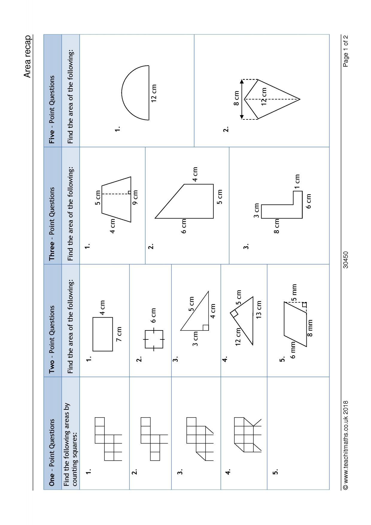 KS3   Area and perimeter – compound shapes   Teachit Maths