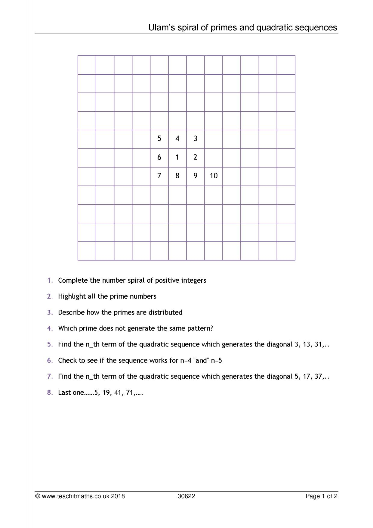Sequences – nth term | Teachit Maths