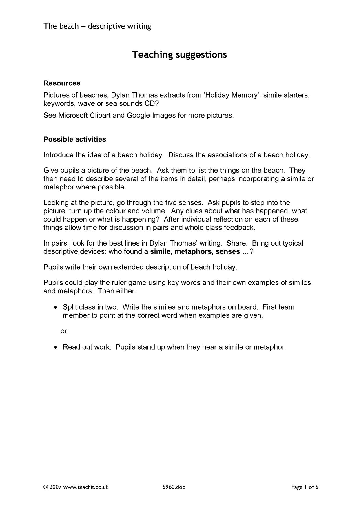 describing a beach or holiday memory original writing trail resource thumbnail