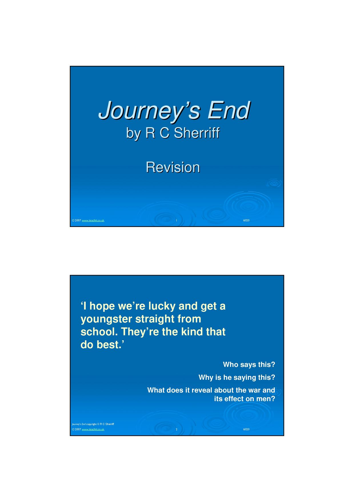 journeys end by r c sherriff 2 essay Journeys end act 2 begins with a feeling of hope  journey's end before act 2,  scene 1 osborne was putting a drunken  related gcse rc sheriff essays.