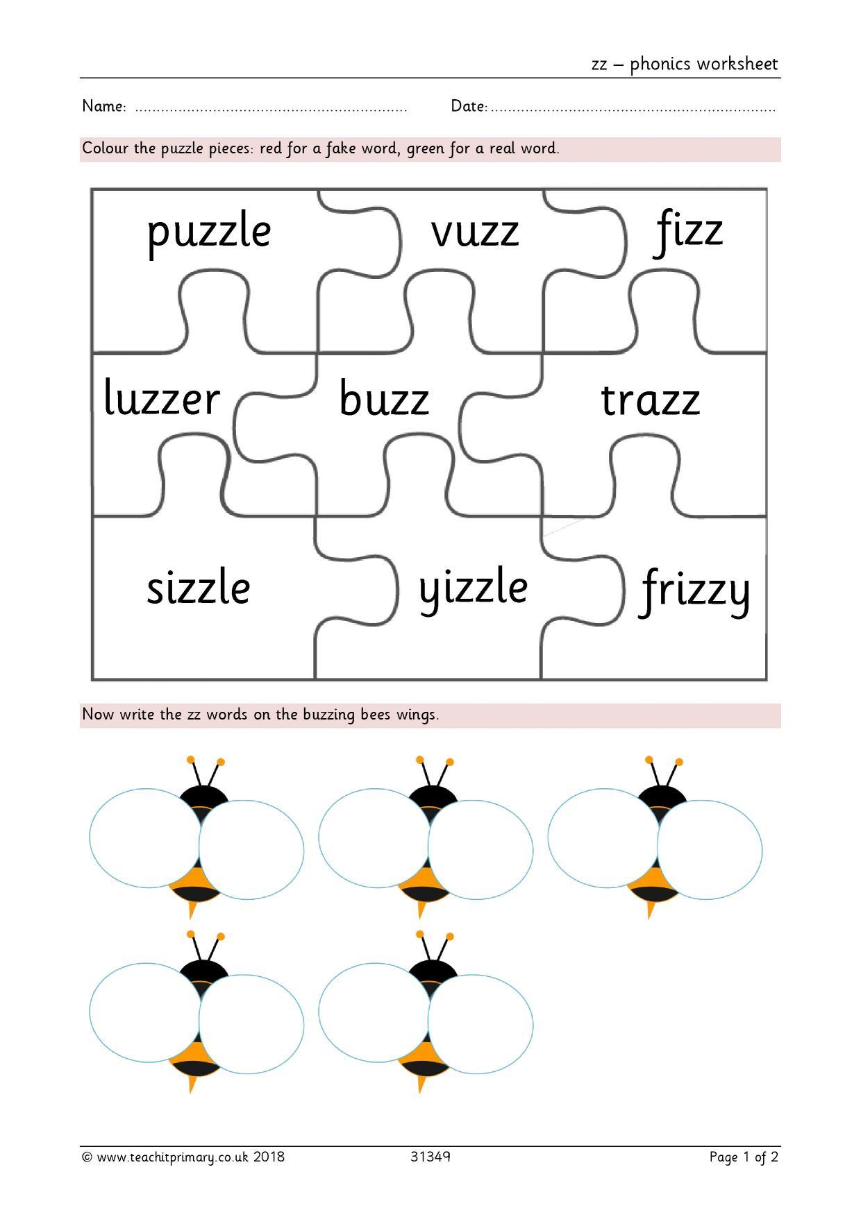 zz - phonics worksheet