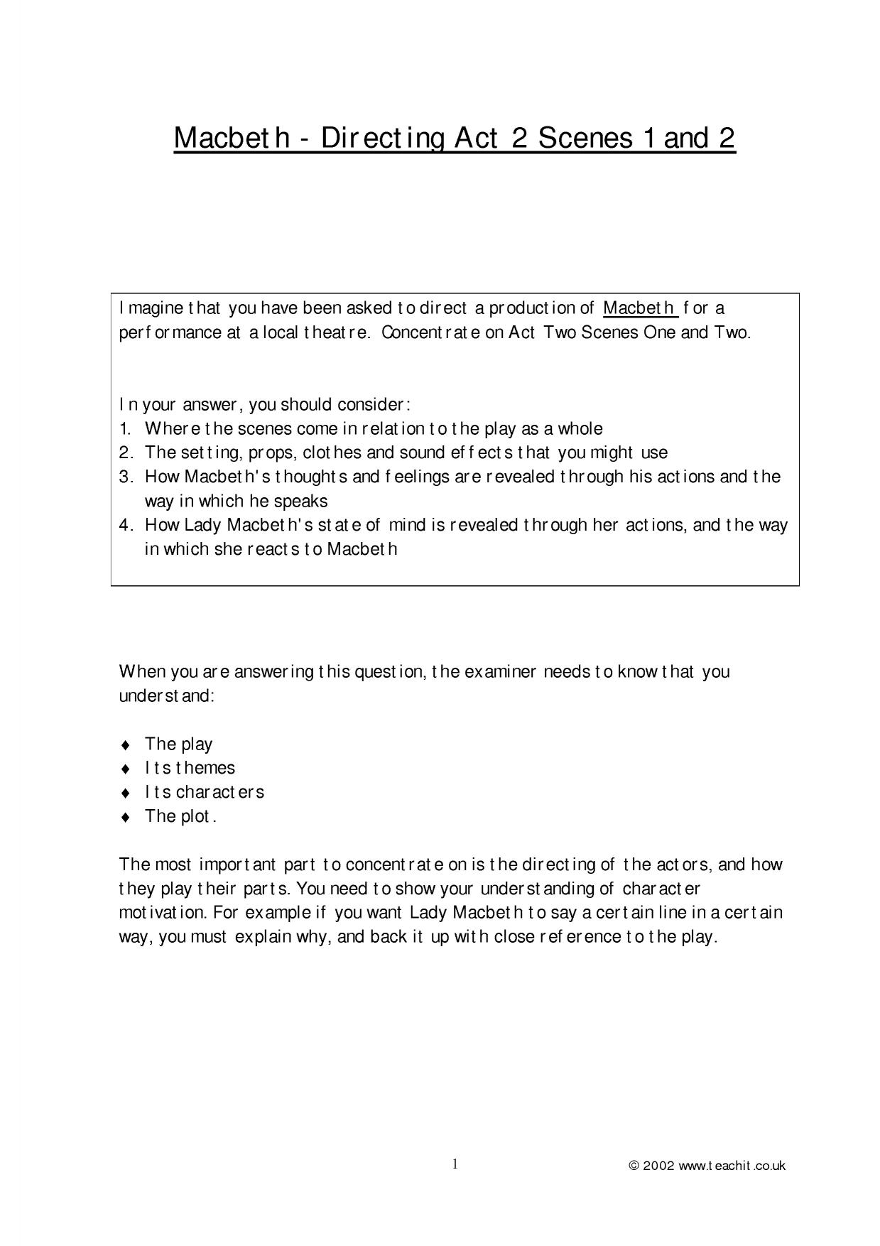 practice essay questions for macbeth Macbeth by william shakespeare 22 igcse exam style questions for practice a question bank for igcse literature 0486(cie) paper 2 / contents 22 critical essay questions  .