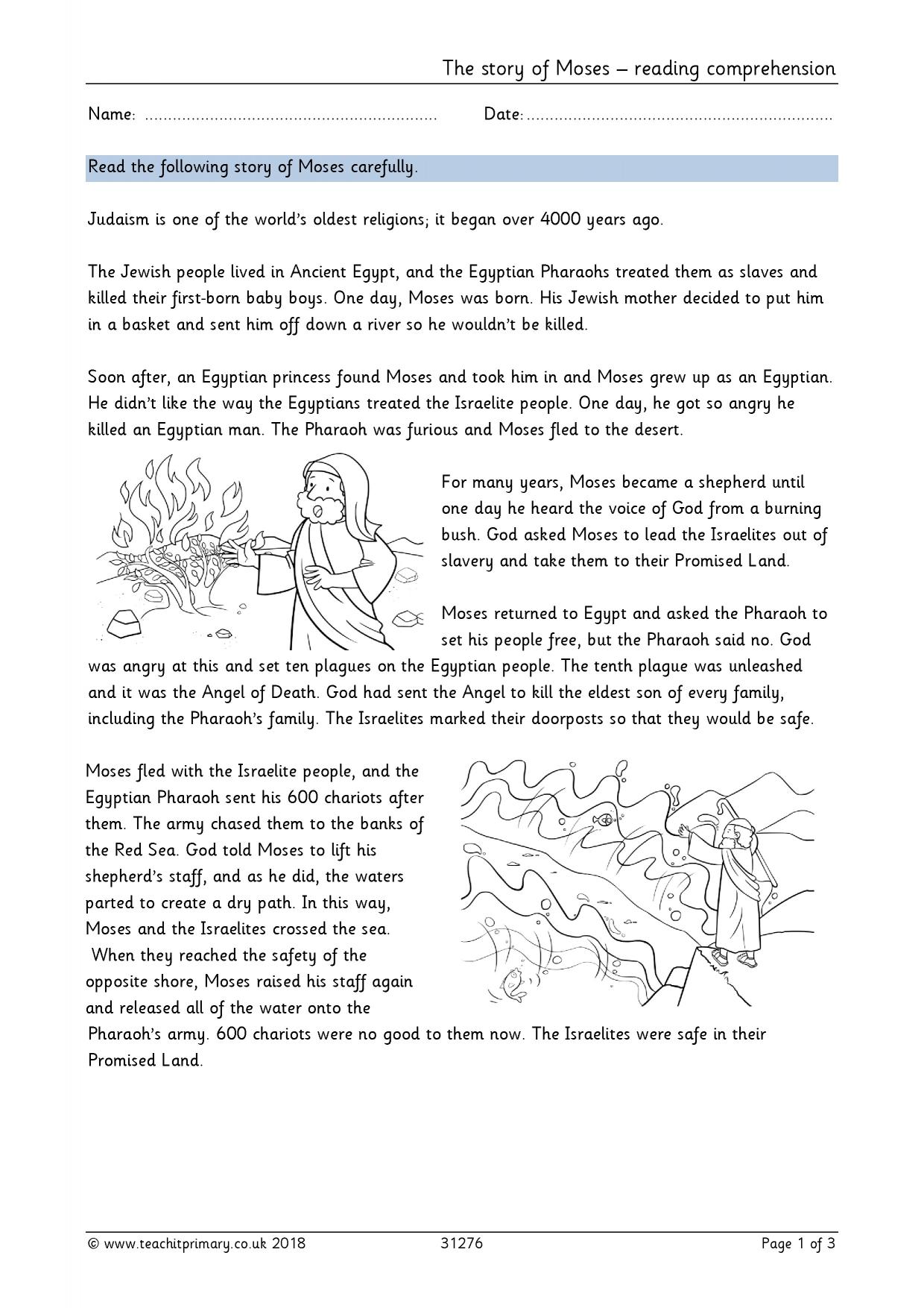 - The Story Of Moses – Reading Comprehension