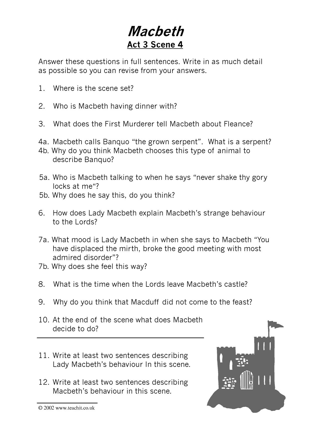 macbeth essay questions ks3 An inspiring collection of teaching resources, activities and ideas delivering macbeth lessons if you sell your resources on tescom and would like to be a contributor, please email social@tesglobalcom | see more ideas about student- centered resources, business valuation and dramas.