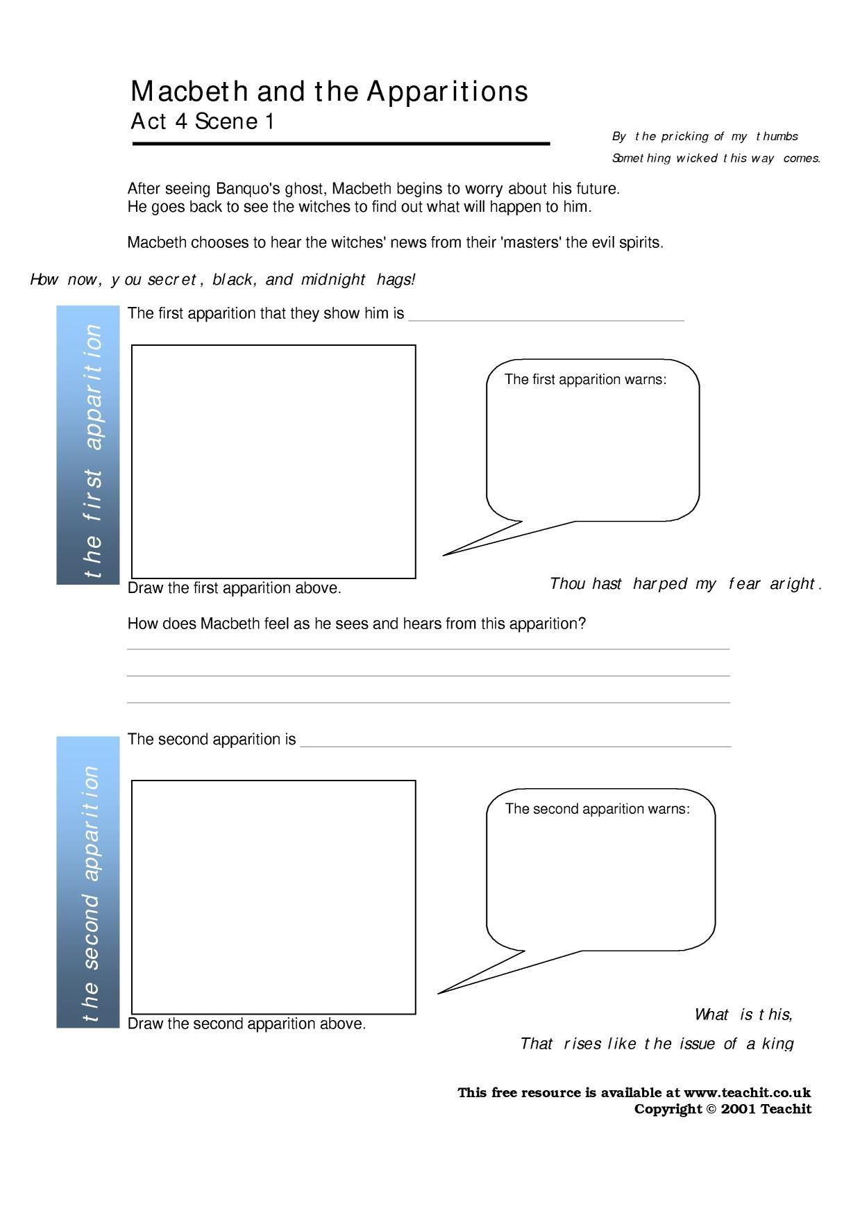 Free Worksheet Macbeth Worksheets macbeth act 4 ks4 resources all 2 preview