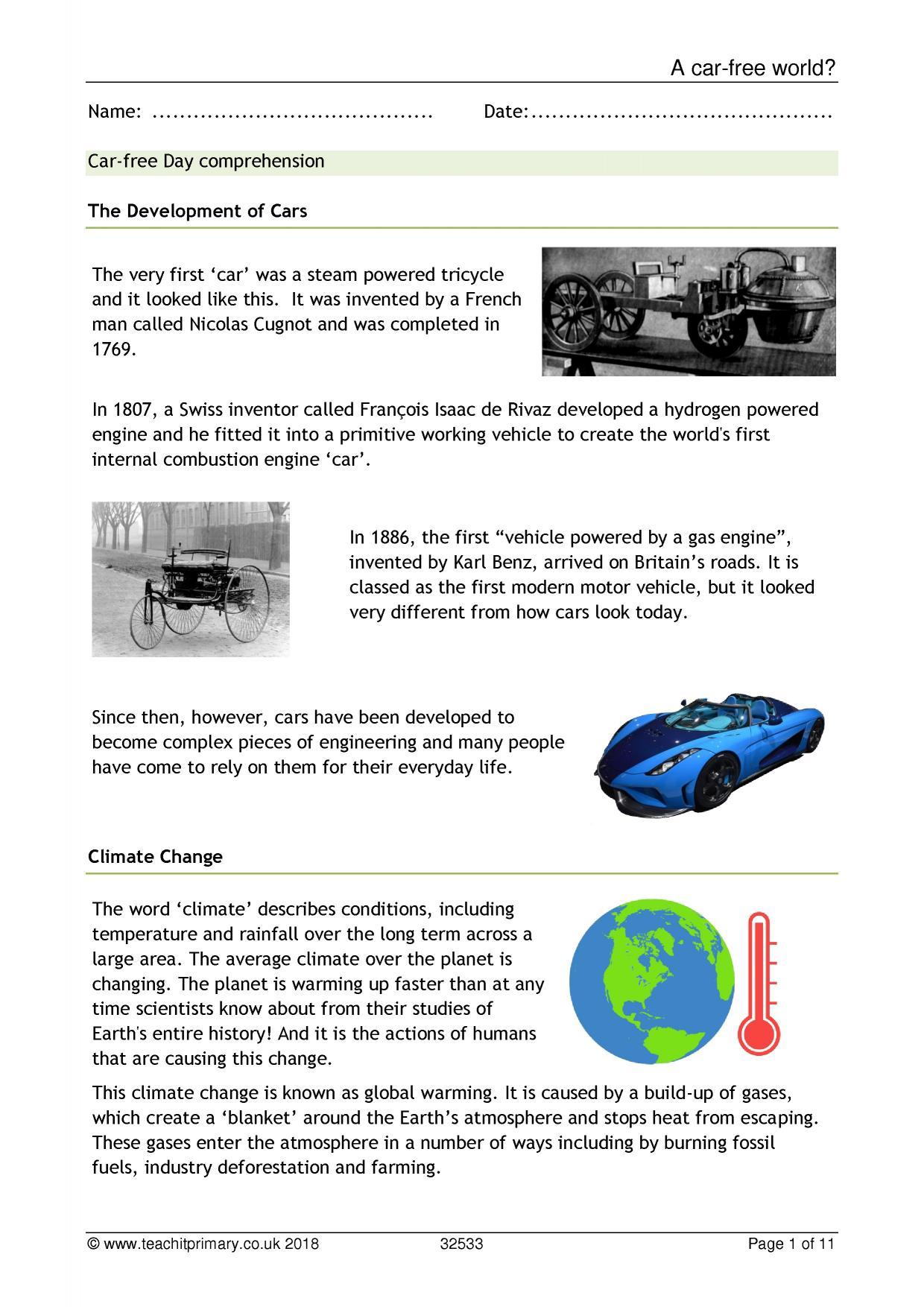 Car Free Day Comprehension