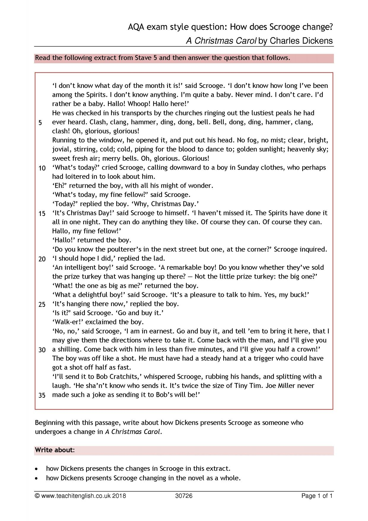 A Christmas Carol Quiz Questions And Answers.A Christmas Carol By Charles Dickens Teachit English