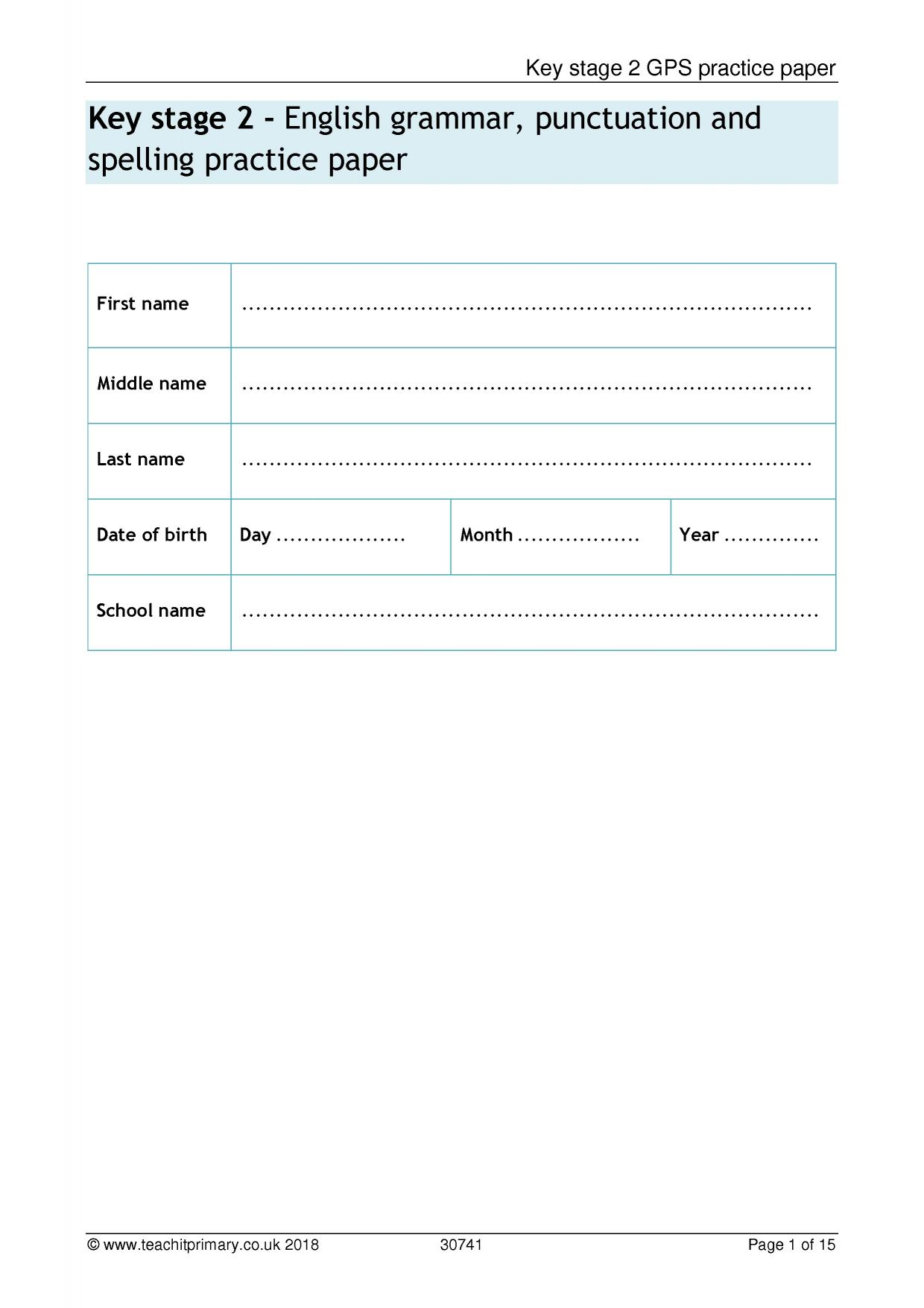 grammar and punctuation exercises pdf primary