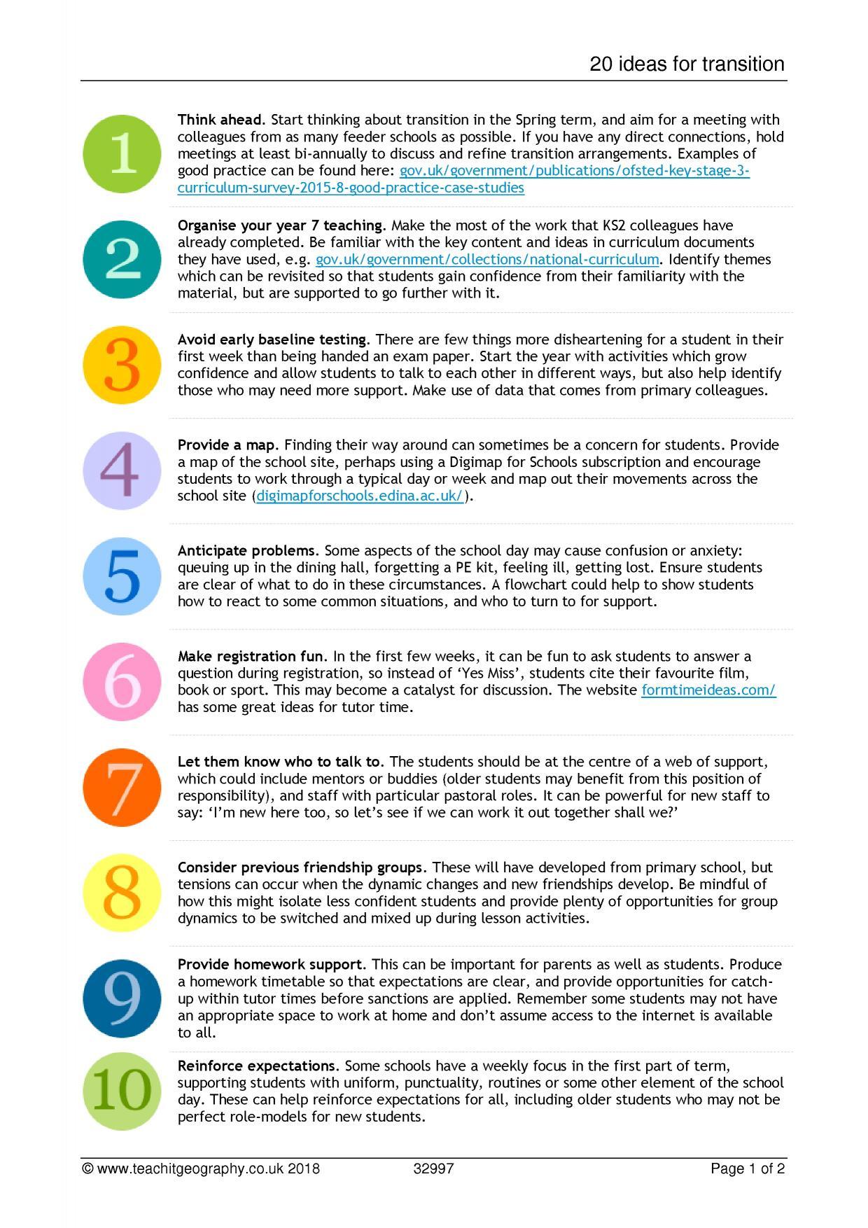 20 ideas for transition | KS2 to KS3 transition ideas | KS3
