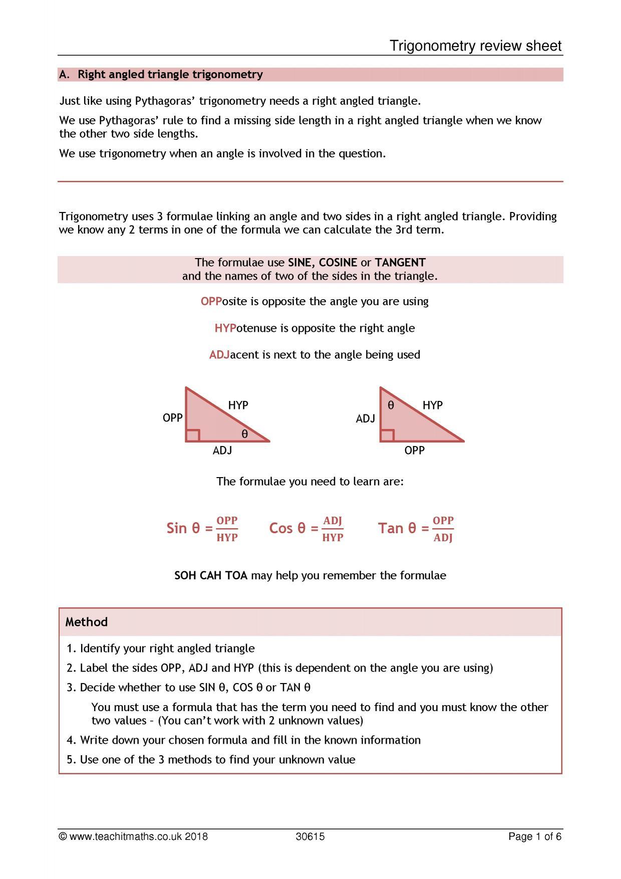 Trigonometry – SOHCAHTOA   Teachit Maths