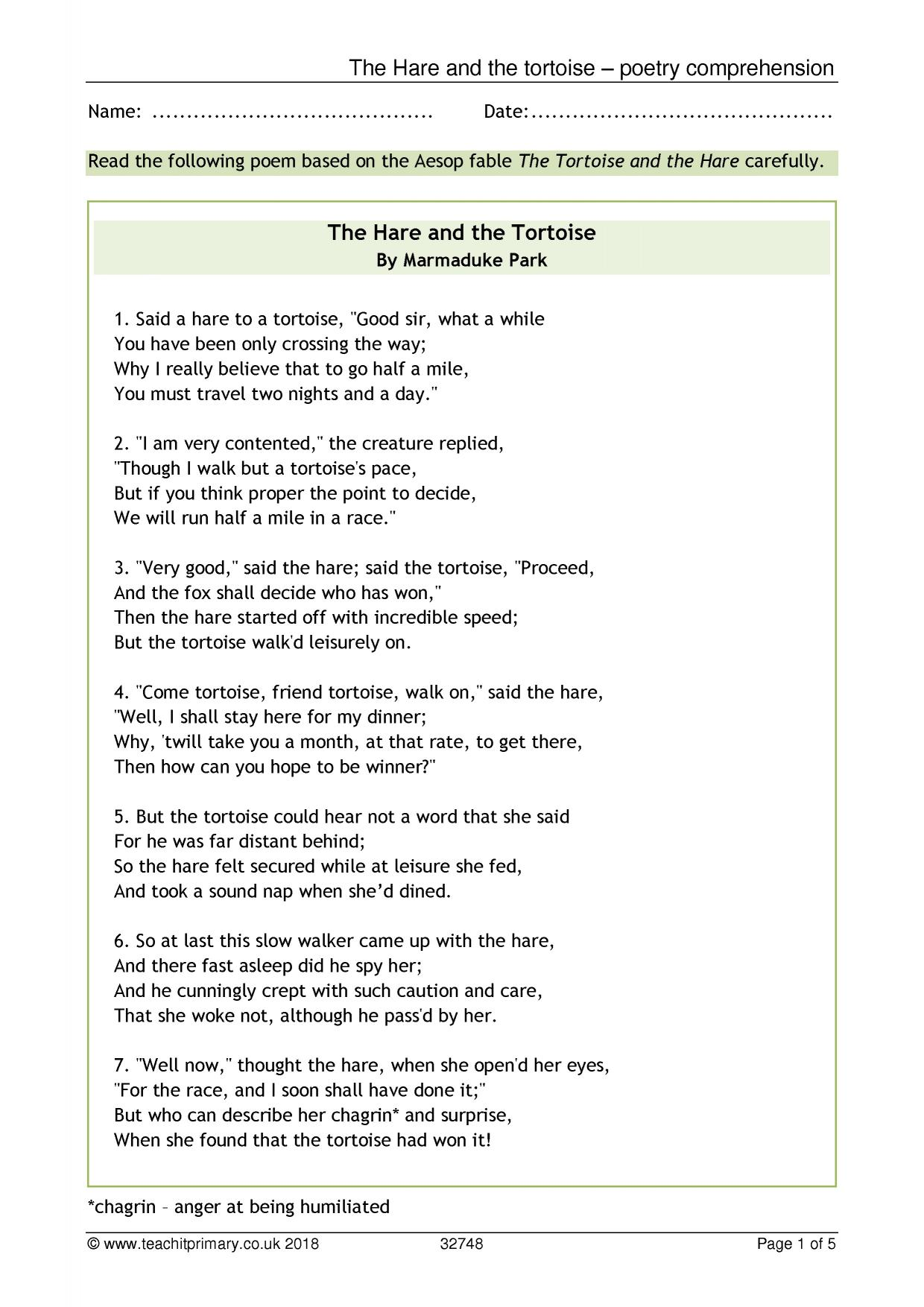 Poetry / Comprehension - The Hare and the Tortoise