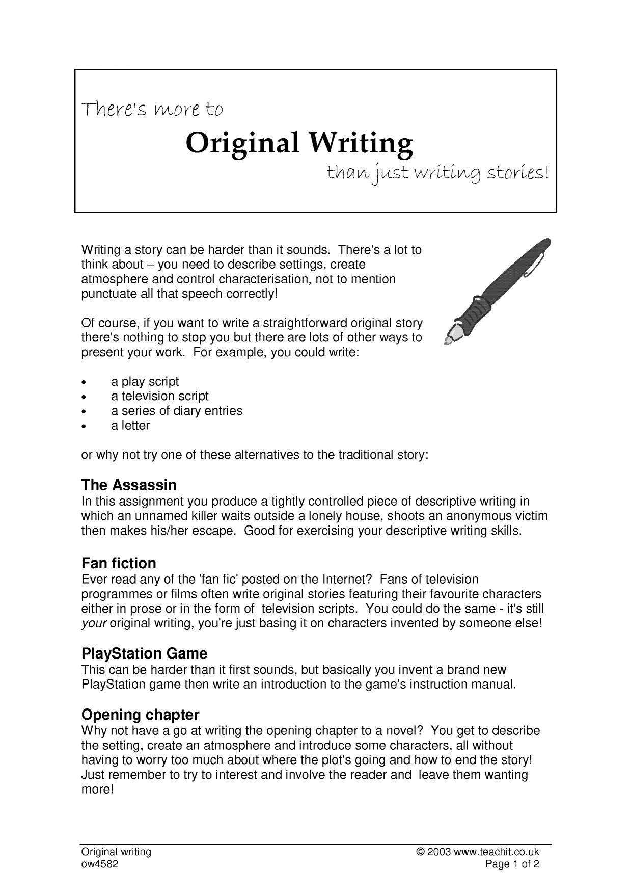 descriptive writing coursework