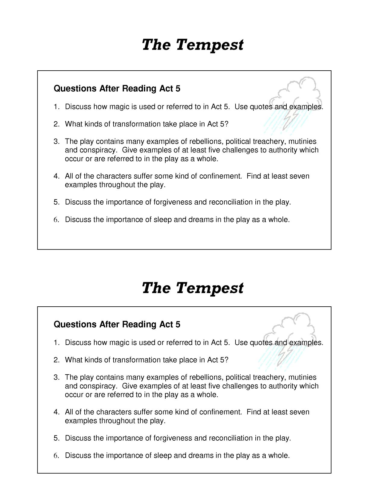 tempest discovery essay The tempest is shakespeare's last play, and is more complex than many of his earlier works in terms of structure and content if you are unsure about how you should study discovery, you should read this post on hsc area of study: discovery first.