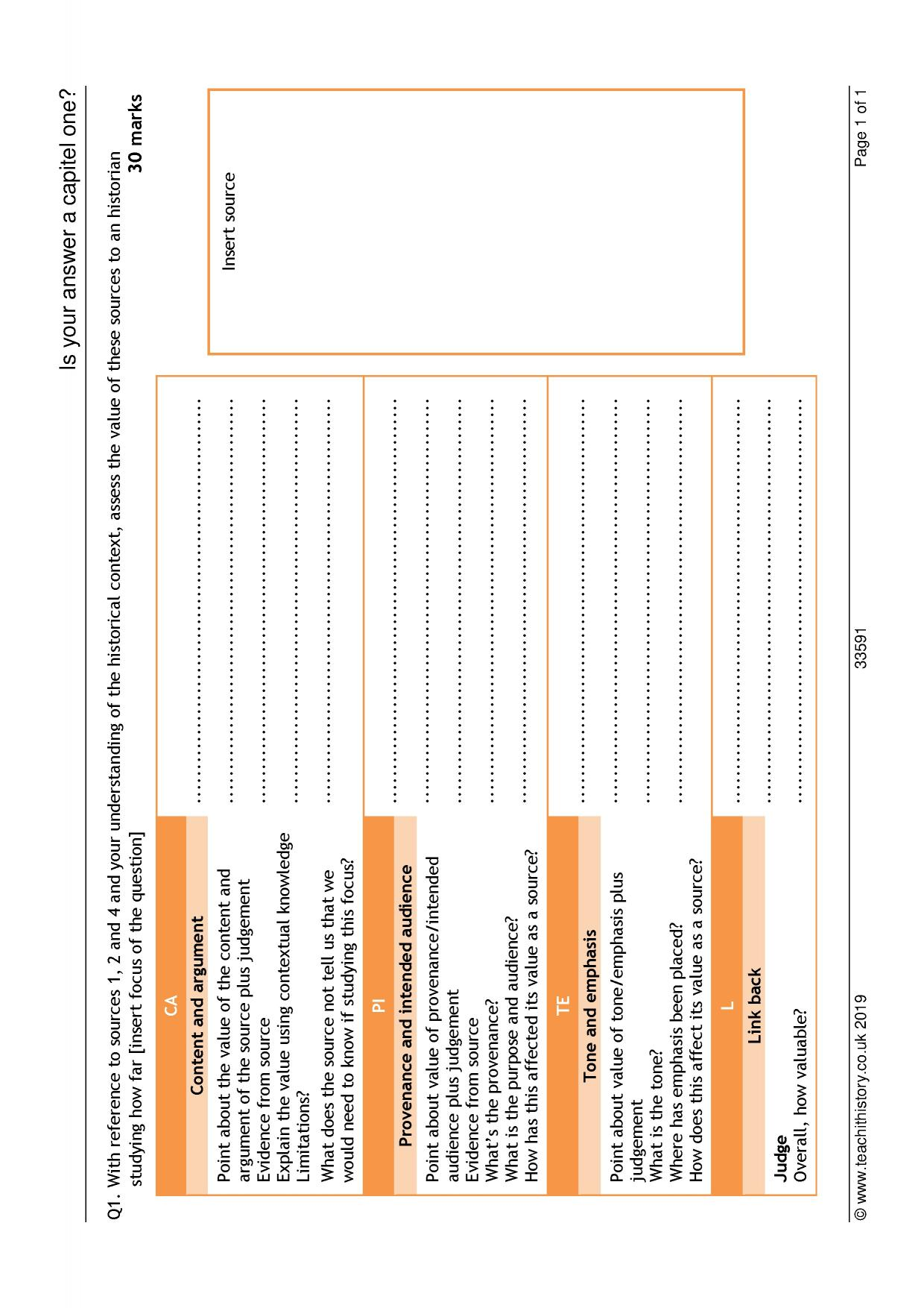 History teaching templates and Tools - Teachit History